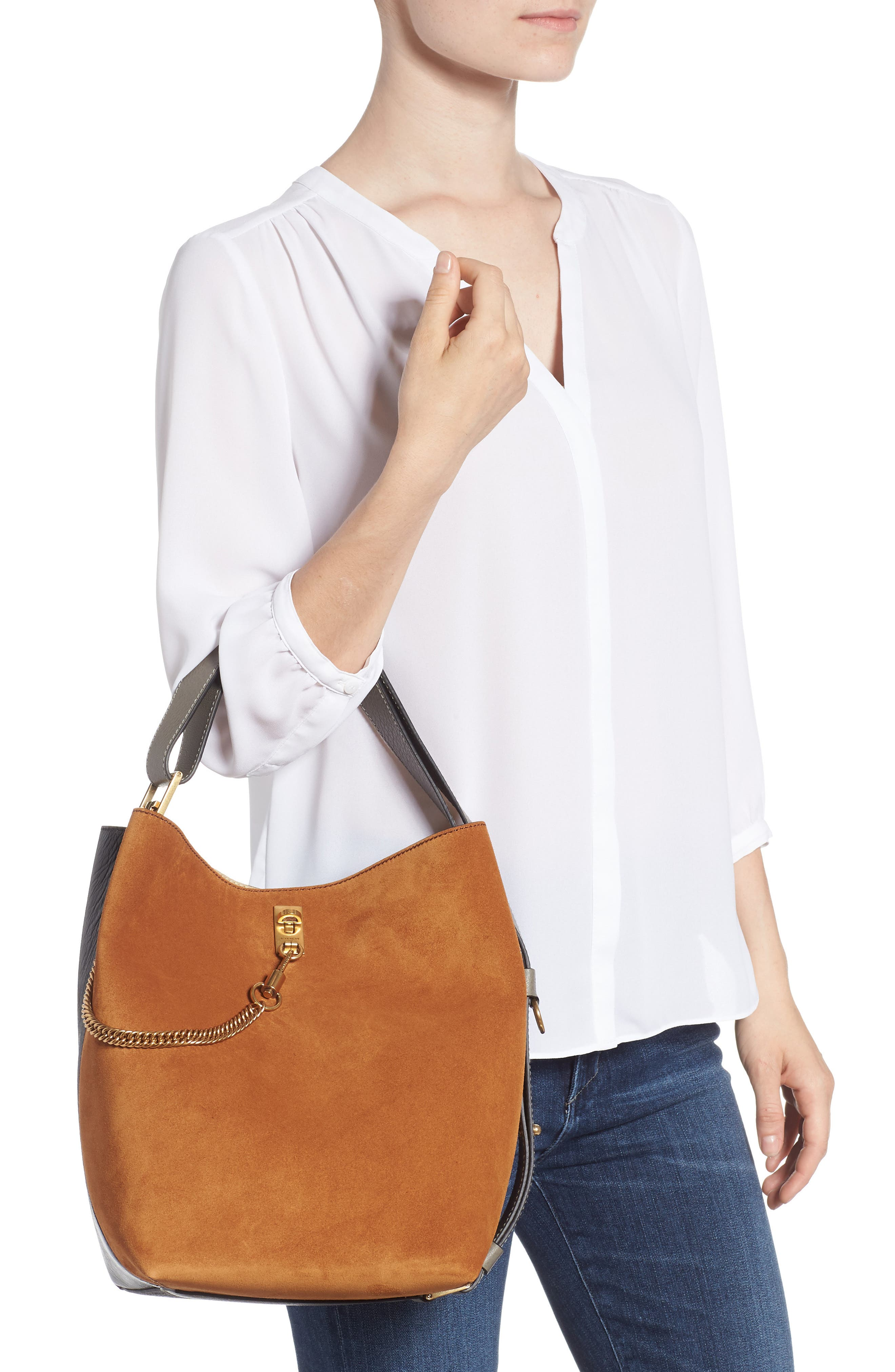 Medium GV Lambskin Bucket Bag,                             Alternate thumbnail 2, color,                             BLACK/ CHESTNUT