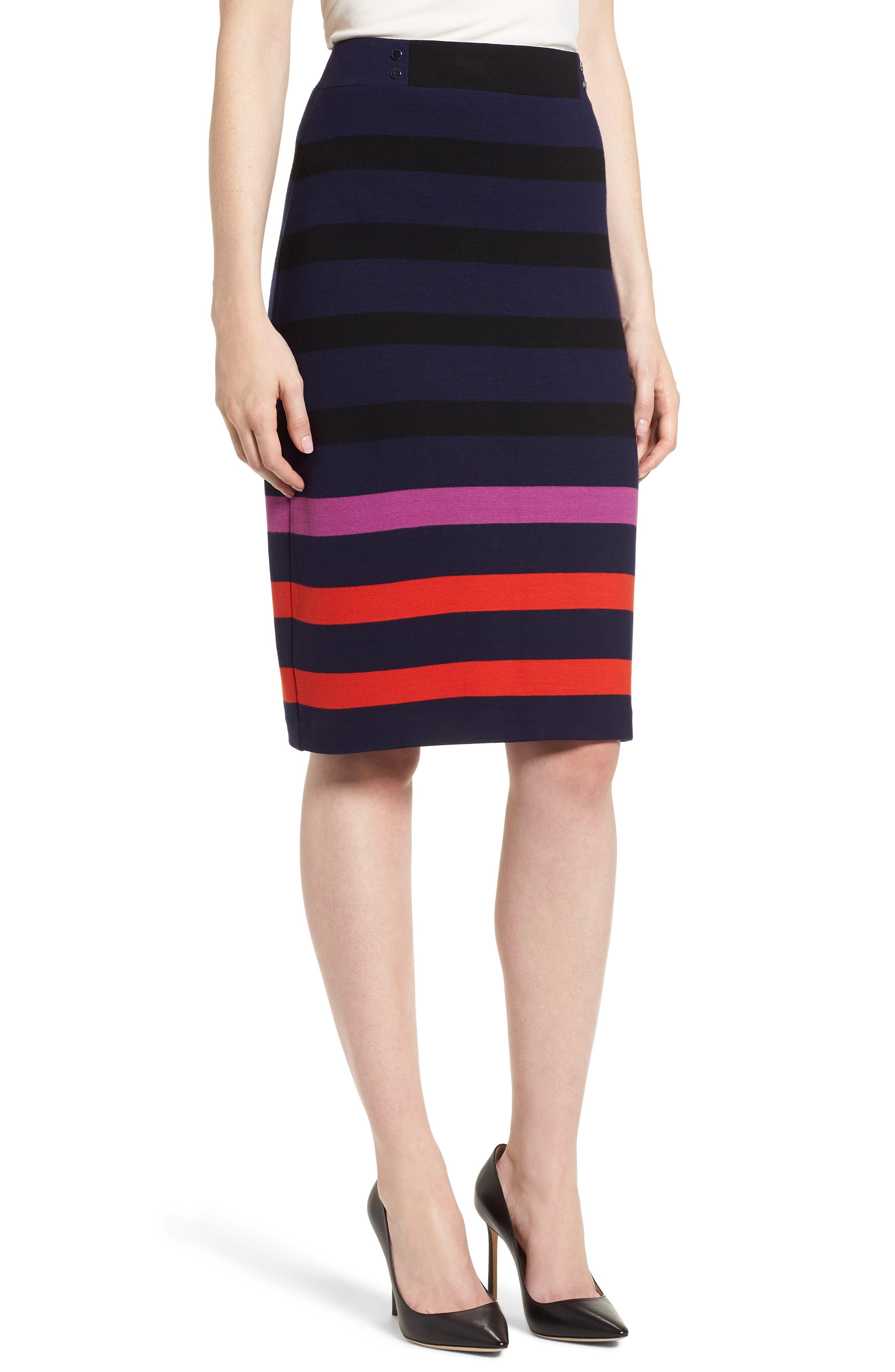 Ebienne Stripe Pencil Skirt,                             Main thumbnail 1, color,                             462
