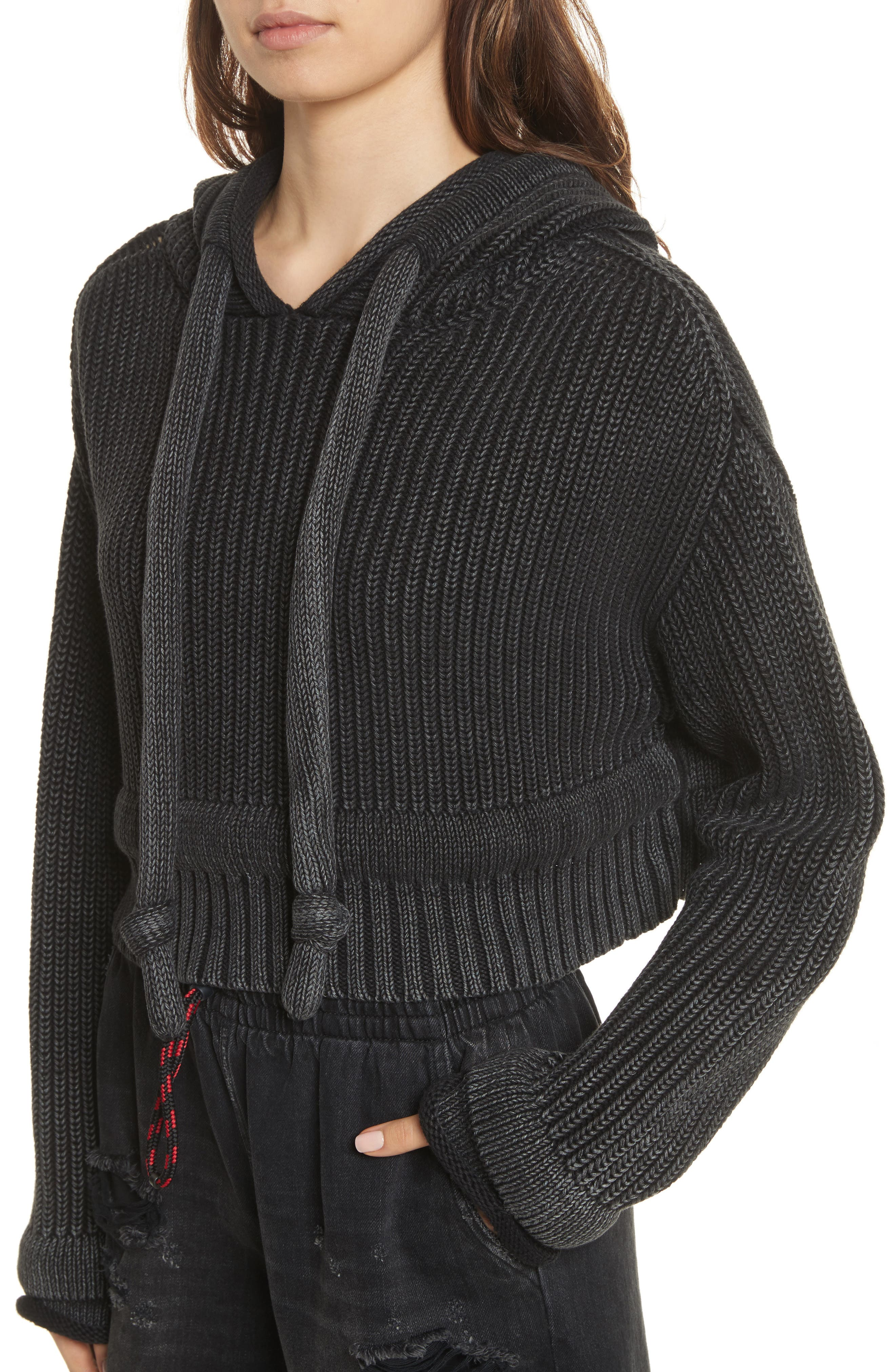 T by Alexander Wang Chunky Knit Hoodie,                             Alternate thumbnail 4, color,                             002