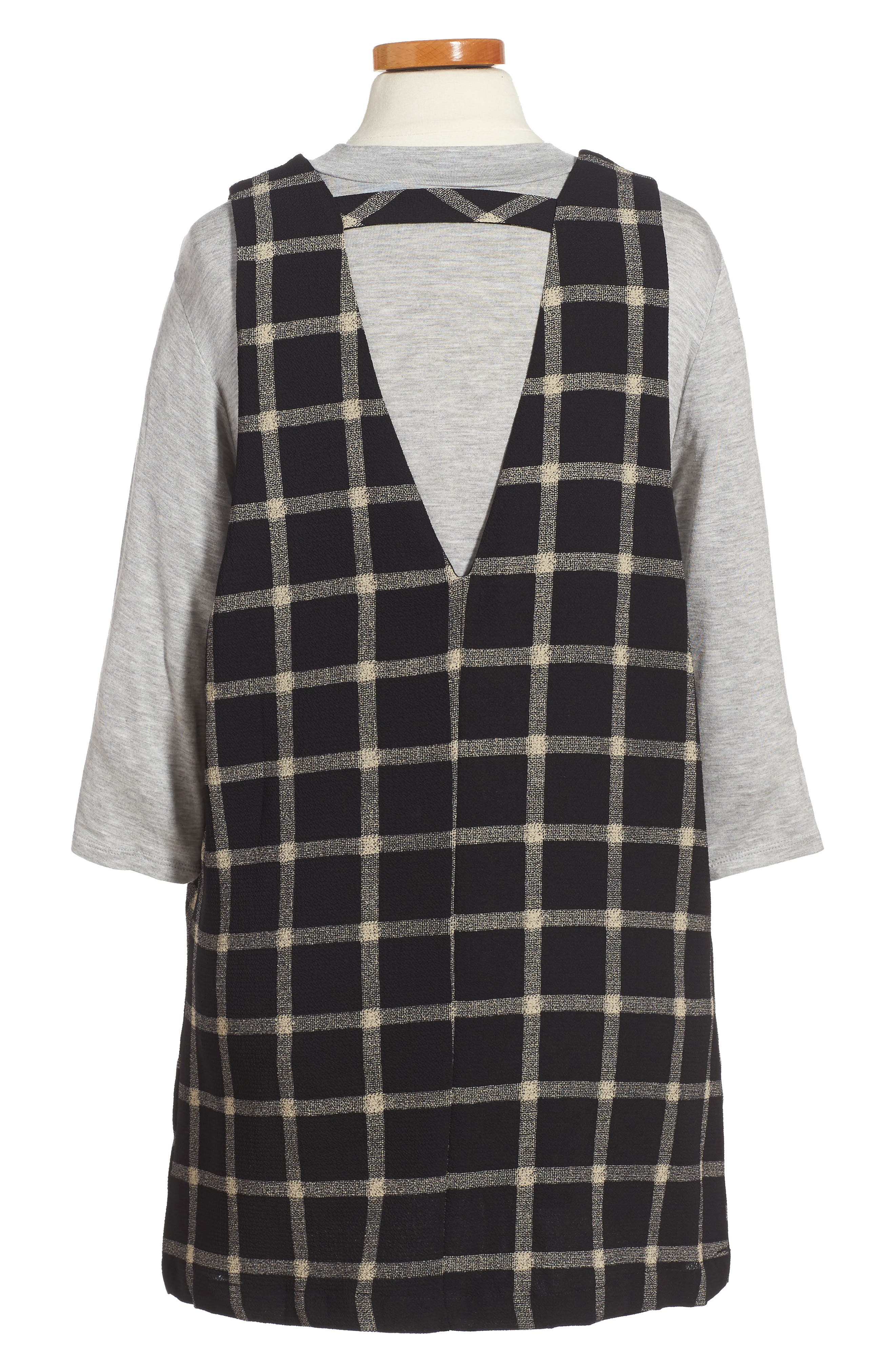 Plaid Top & Jumper Dress Set,                         Main,                         color, 006