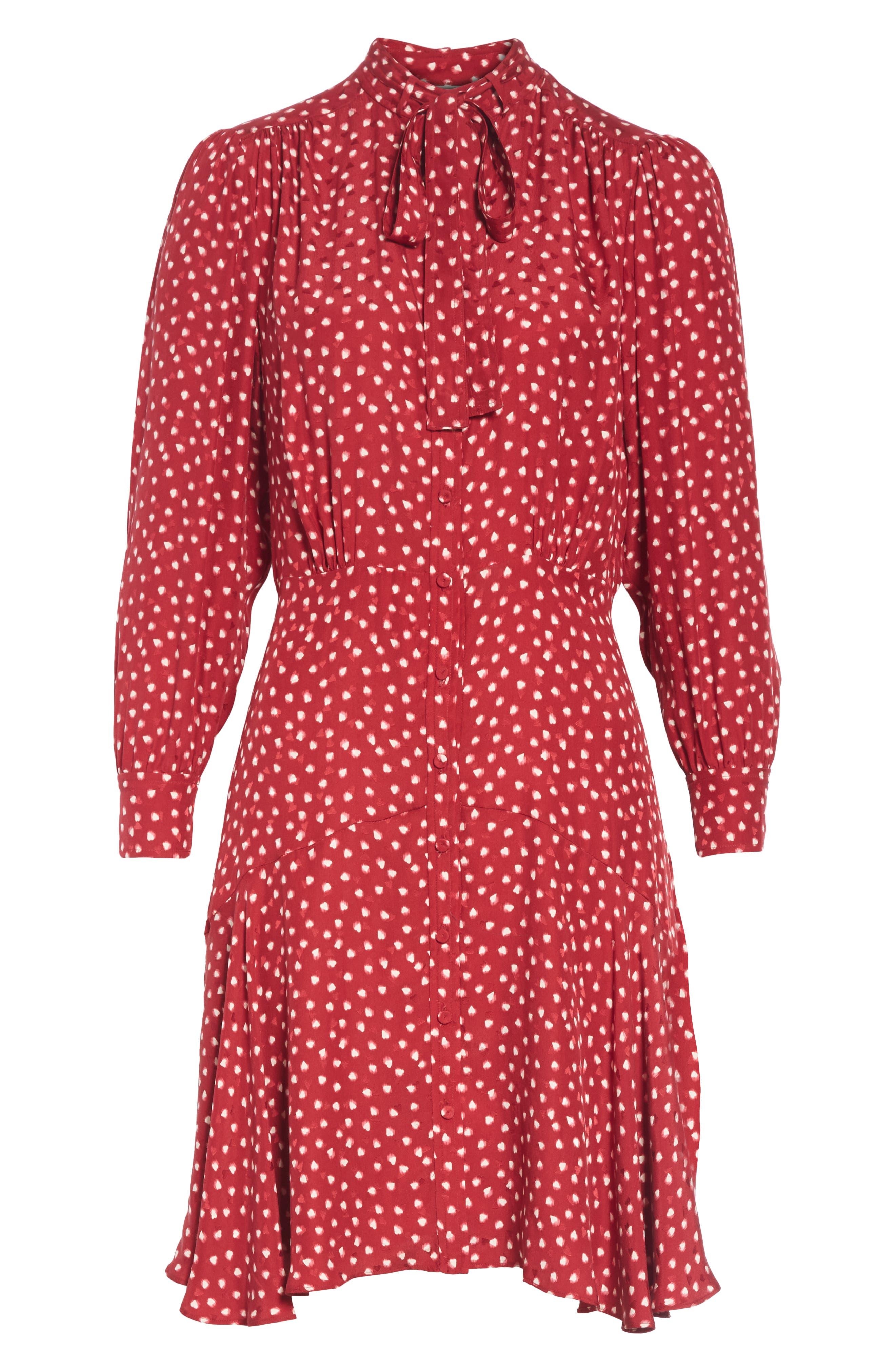 REBECCA TAYLOR,                             Dot Print Fit & Flare Dress,                             Alternate thumbnail 6, color,                             602