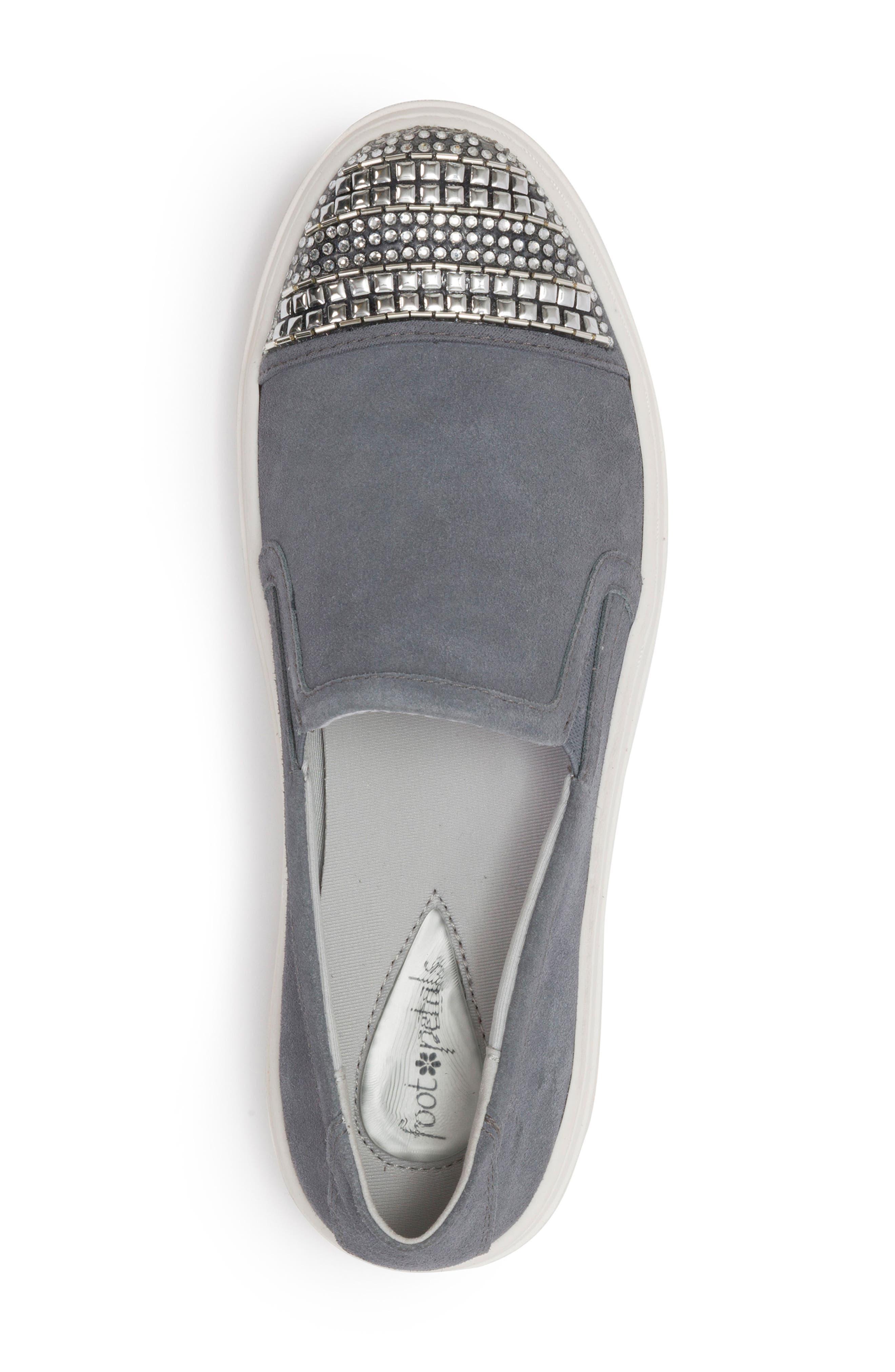 Finley Slip-On Sneaker,                             Alternate thumbnail 5, color,                             DENIM BLUE SUEDE