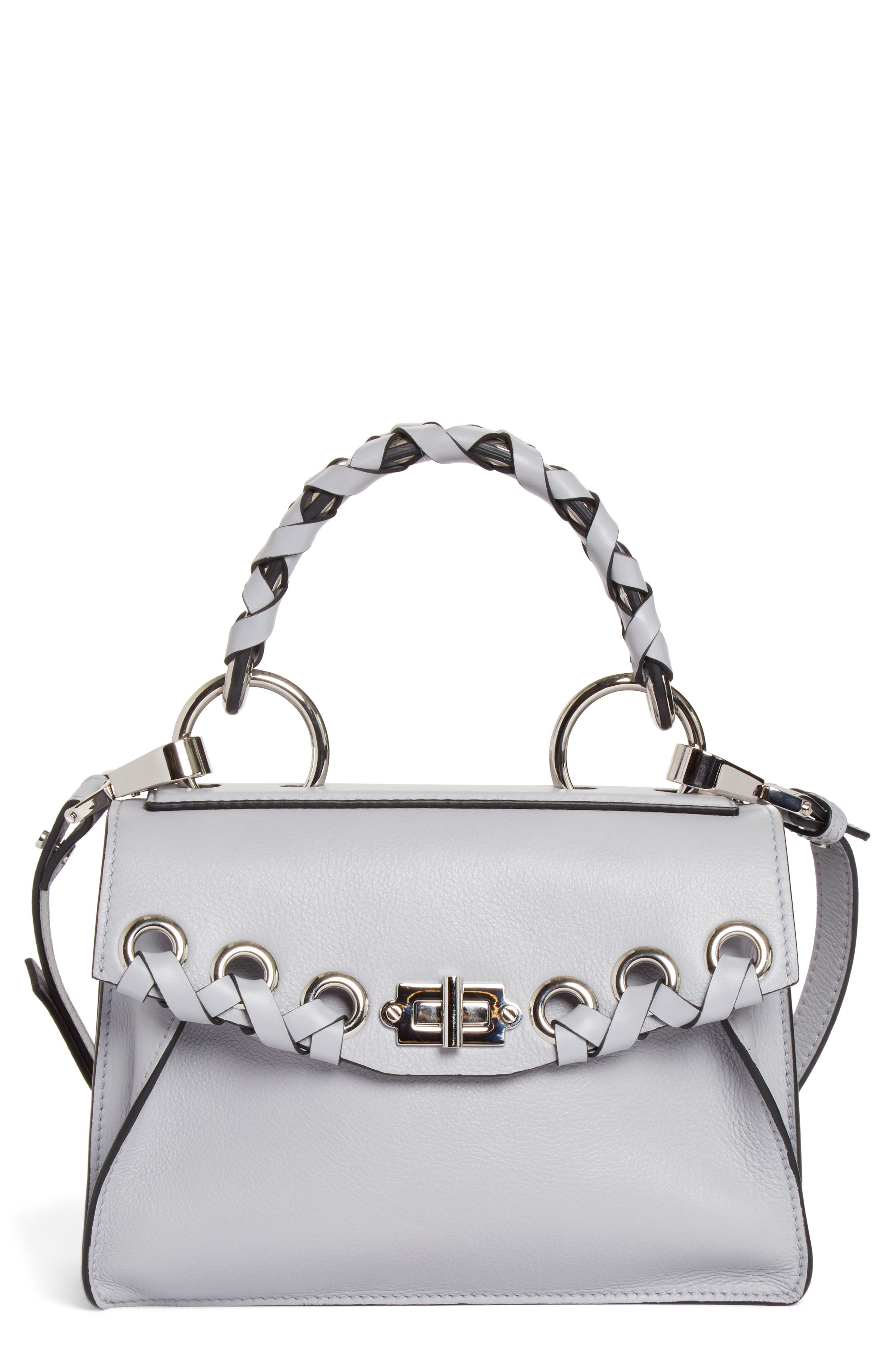 Small Hava Top Handle Leather Satchel,                             Main thumbnail 1, color,                             DOVE GREY