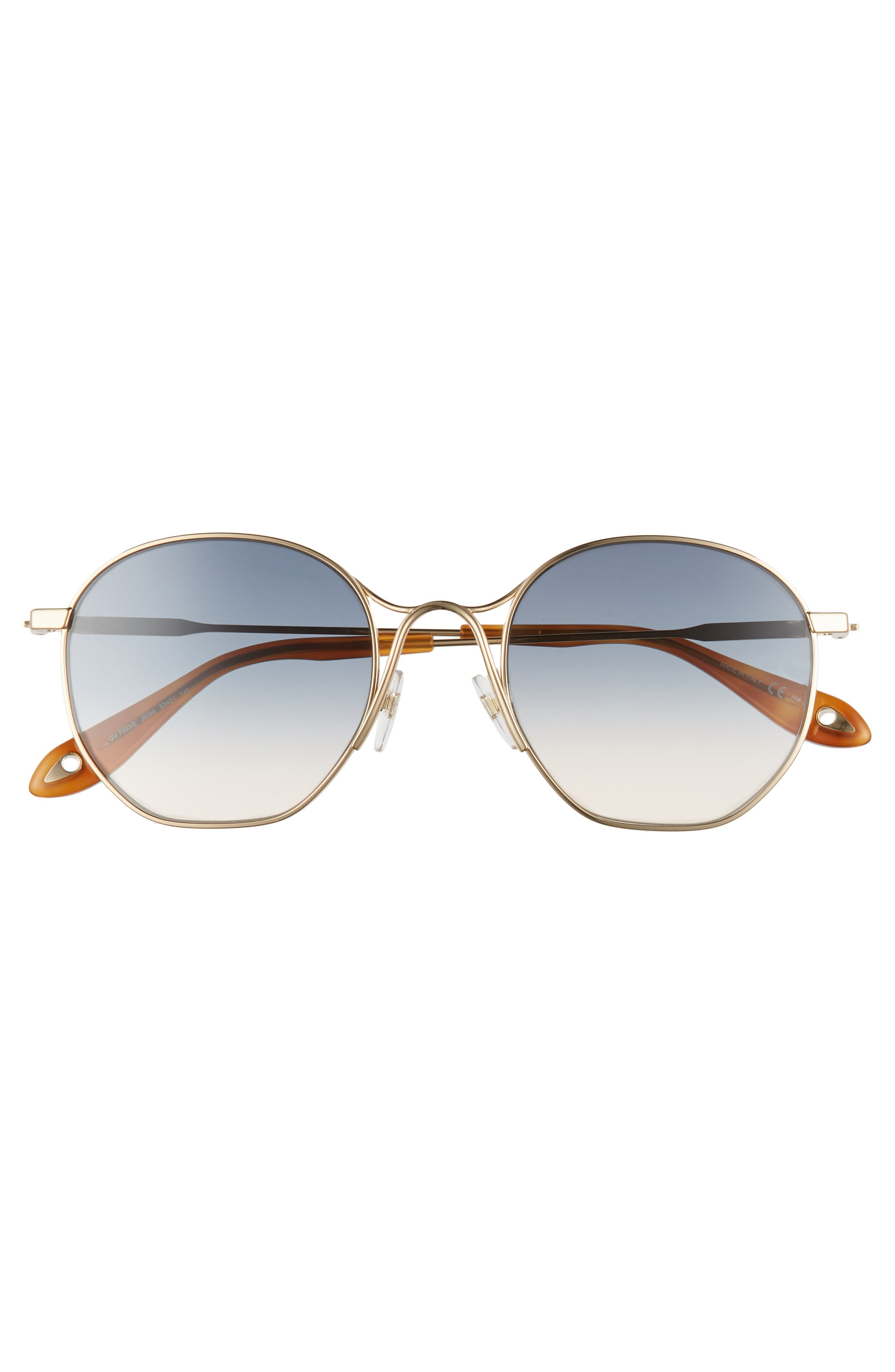 53mm Squared Round Metal Sunglasses,                             Alternate thumbnail 3, color,                             GOLD