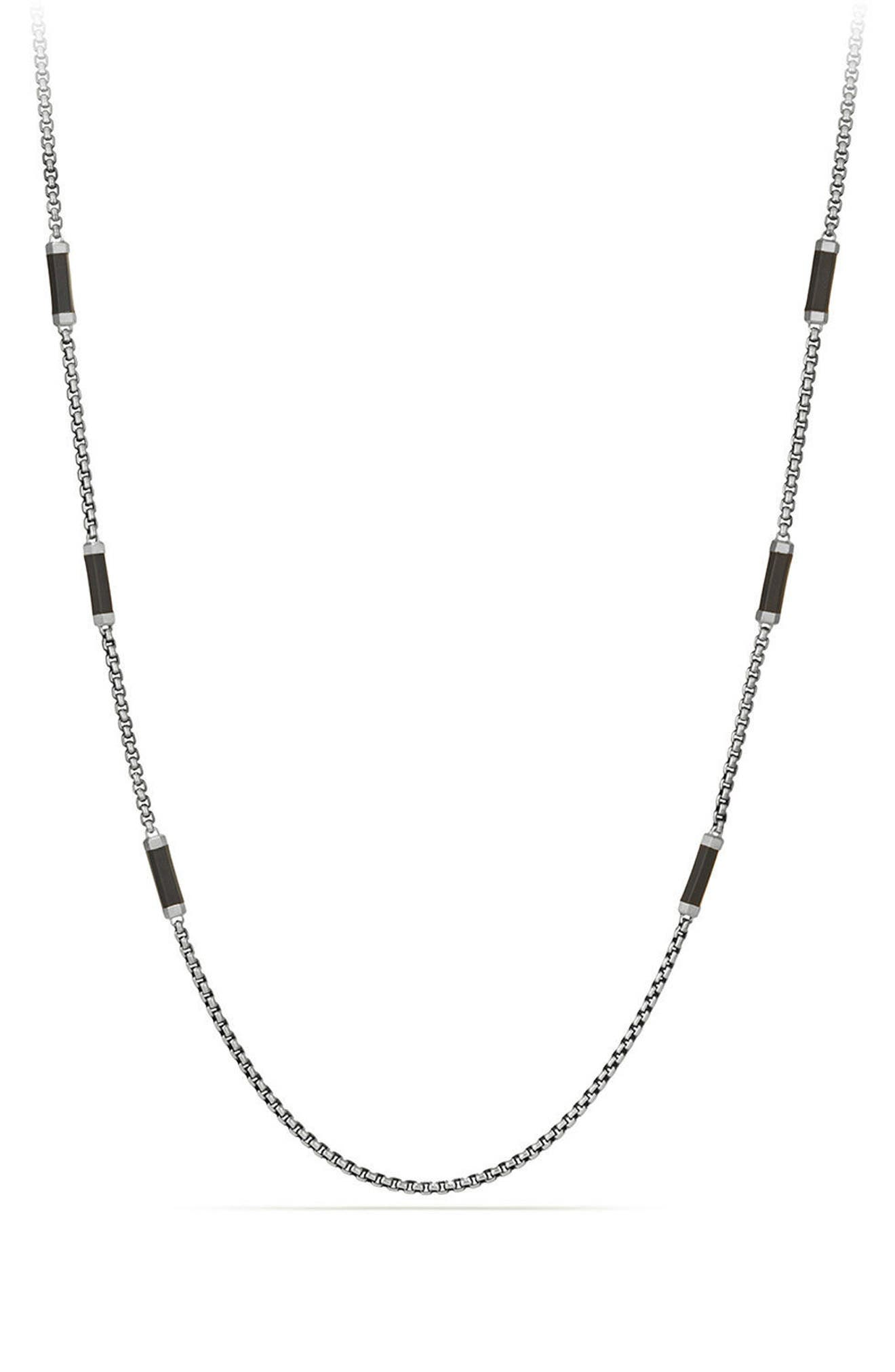 Hex Station Chain Necklace with Rubber,                         Main,                         color, SILVER