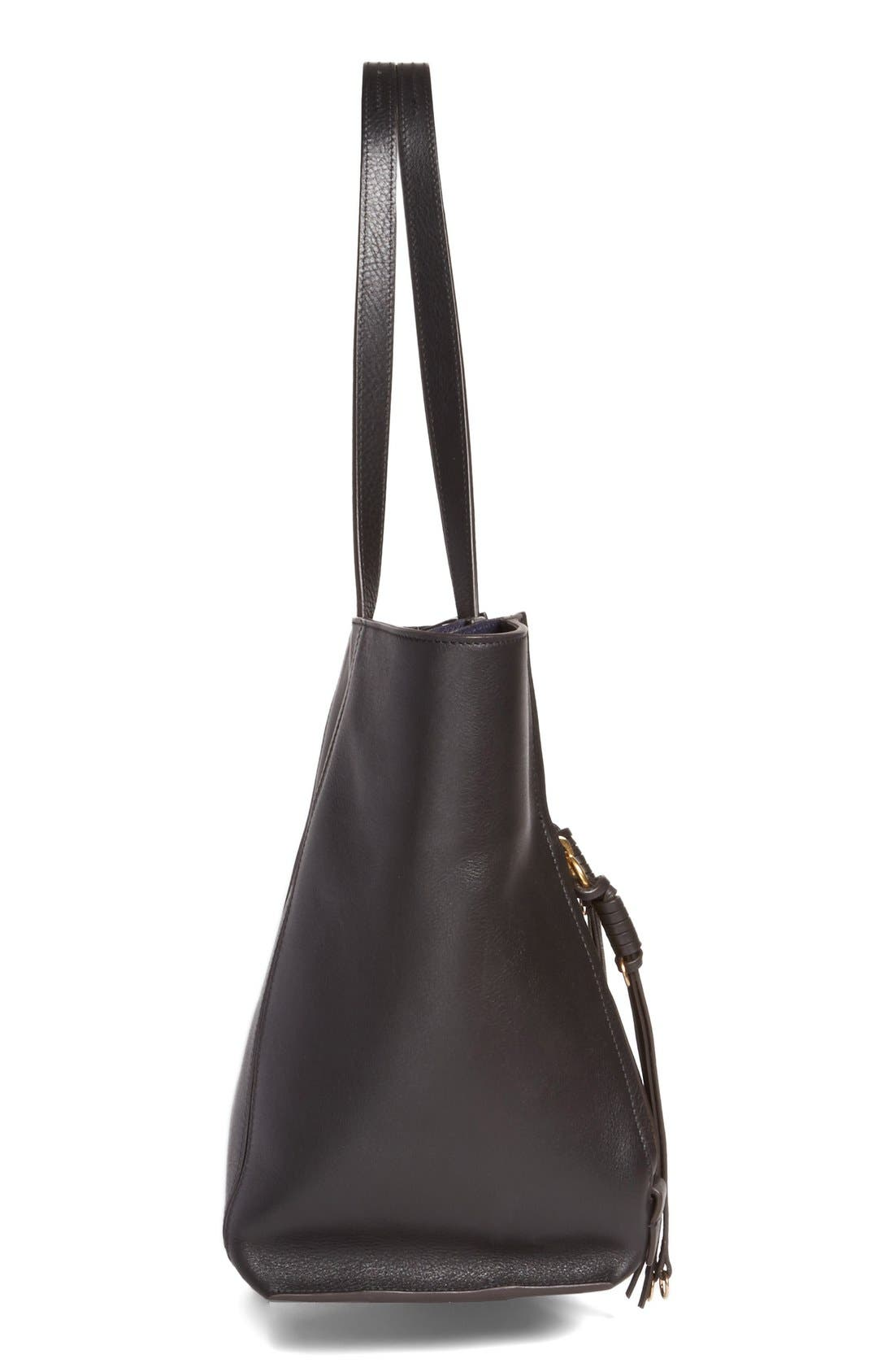 Medium Milo Calfskin Leather Tote,                             Alternate thumbnail 4, color,                             BLACK