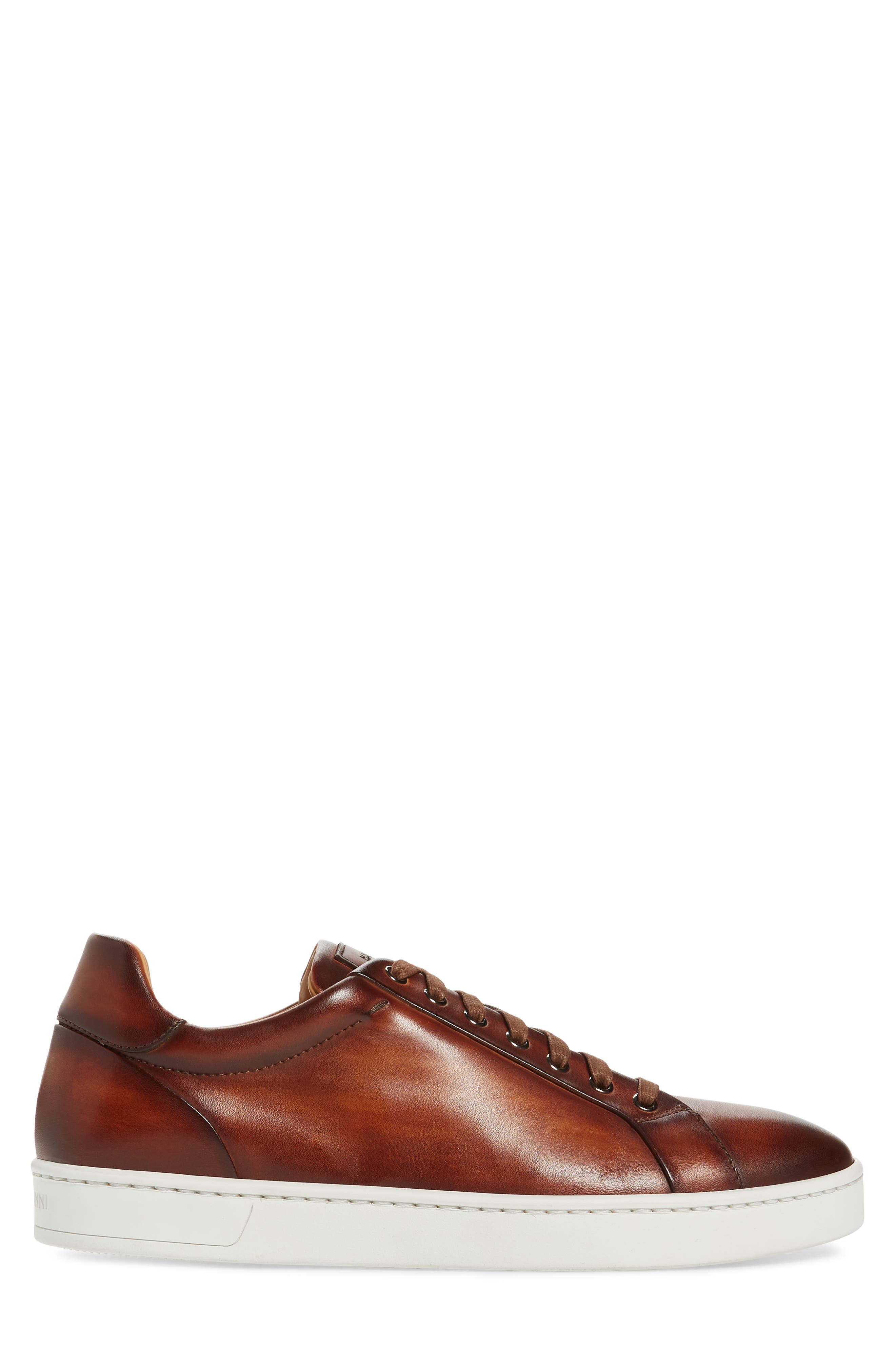 Elonso Low Top Sneaker,                             Alternate thumbnail 3, color,                             COGNAC LEATHER