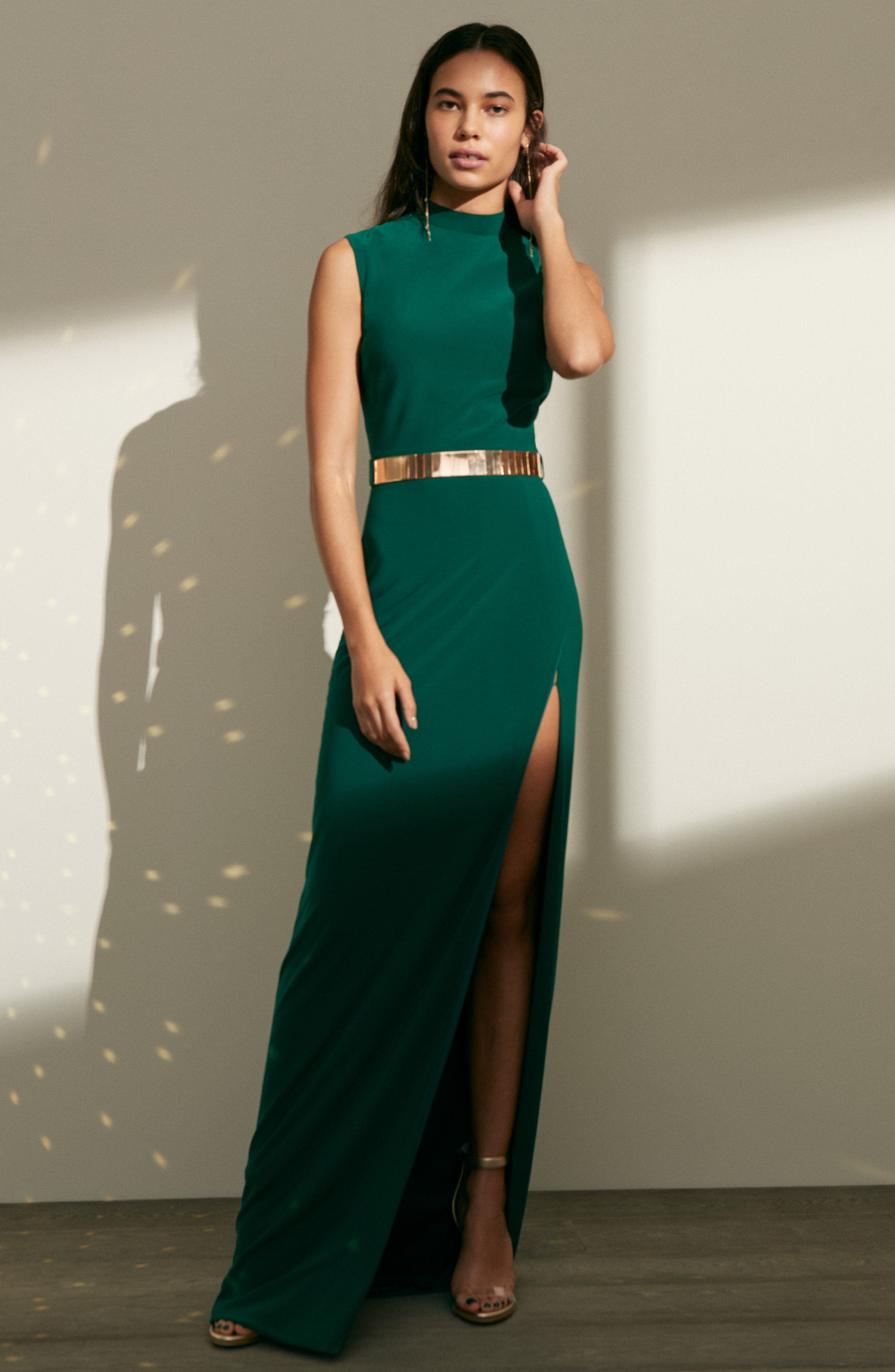 Belted Mock Neck Sheath Gown,                             Alternate thumbnail 7, color,                             001