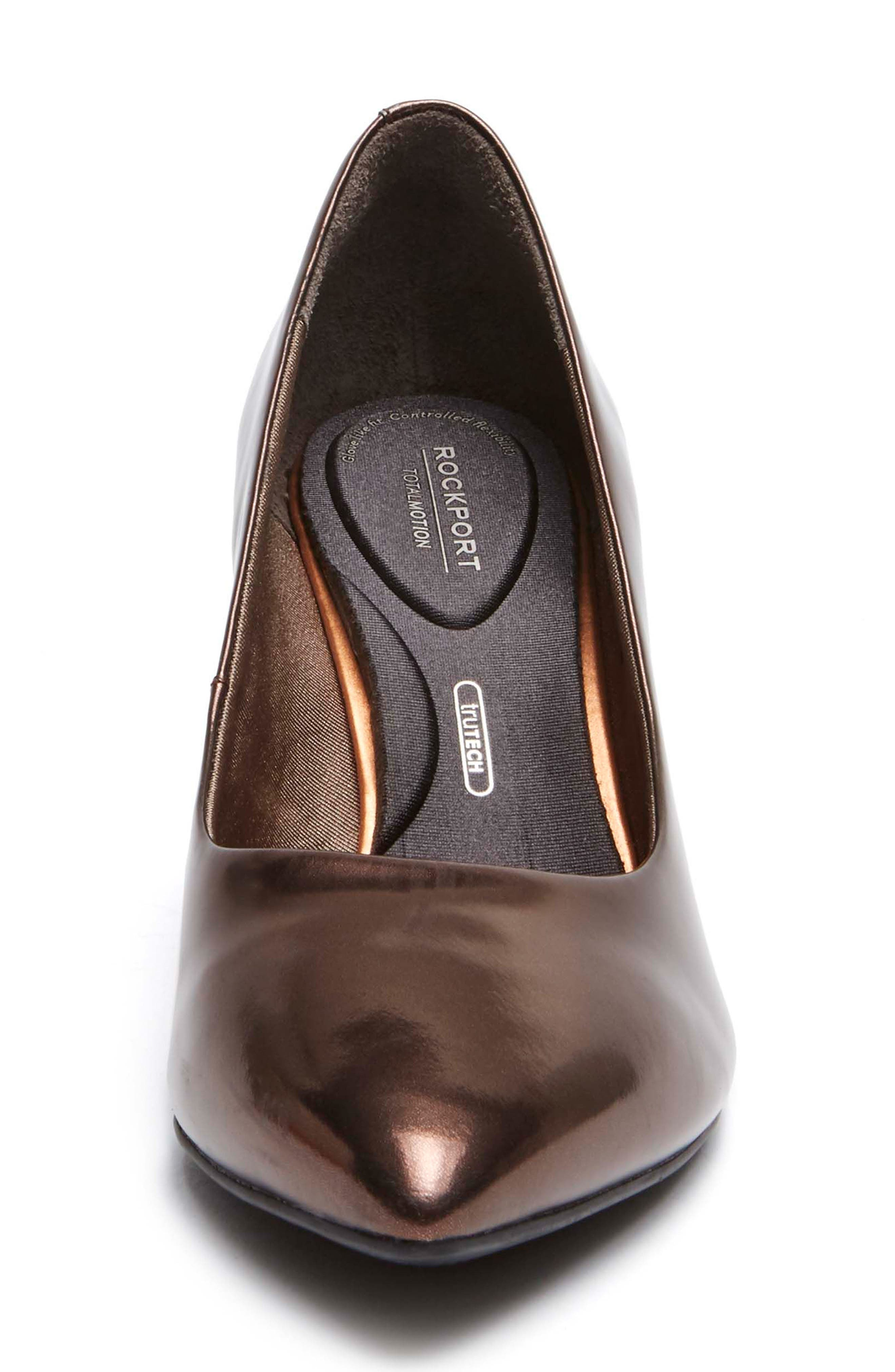Total Motion Violina Luxe Pointy Toe Pump,                             Alternate thumbnail 4, color,                             BRONZE PATENT LEATHER