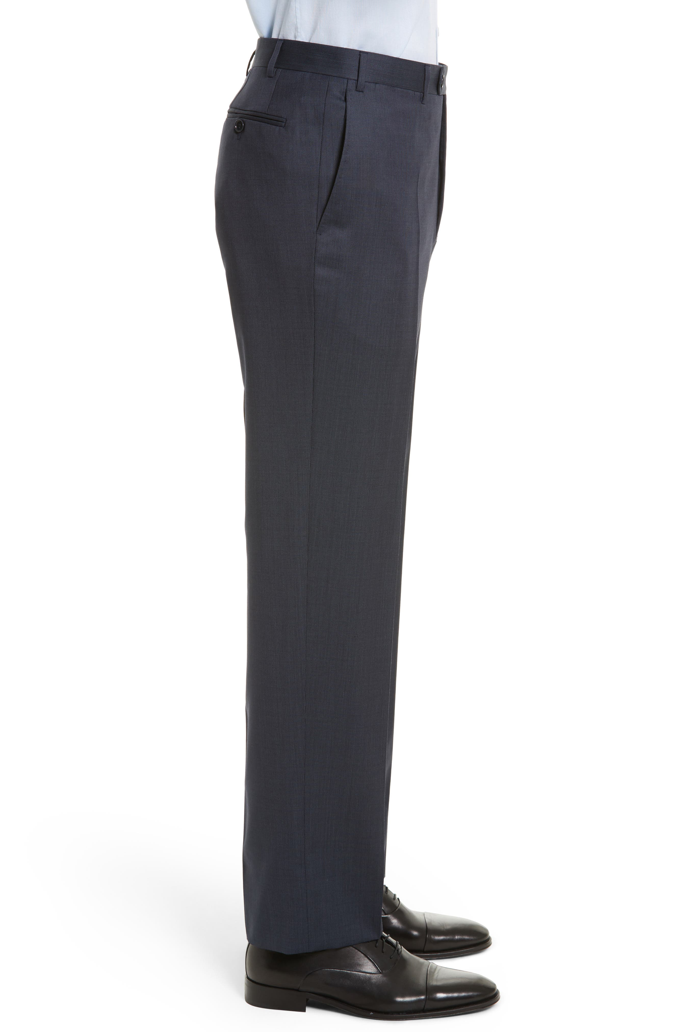 Flat Front Stripe Wool Trousers,                             Alternate thumbnail 15, color,