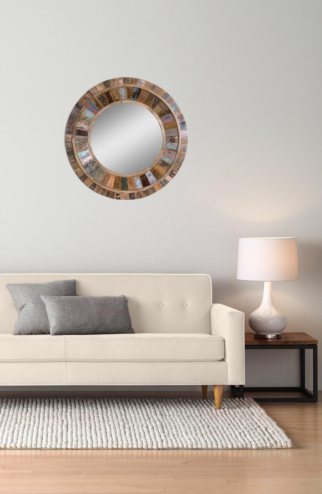 'Jeremiah' Round Wooden Wall Mirror,                             Alternate thumbnail 2, color,                             200