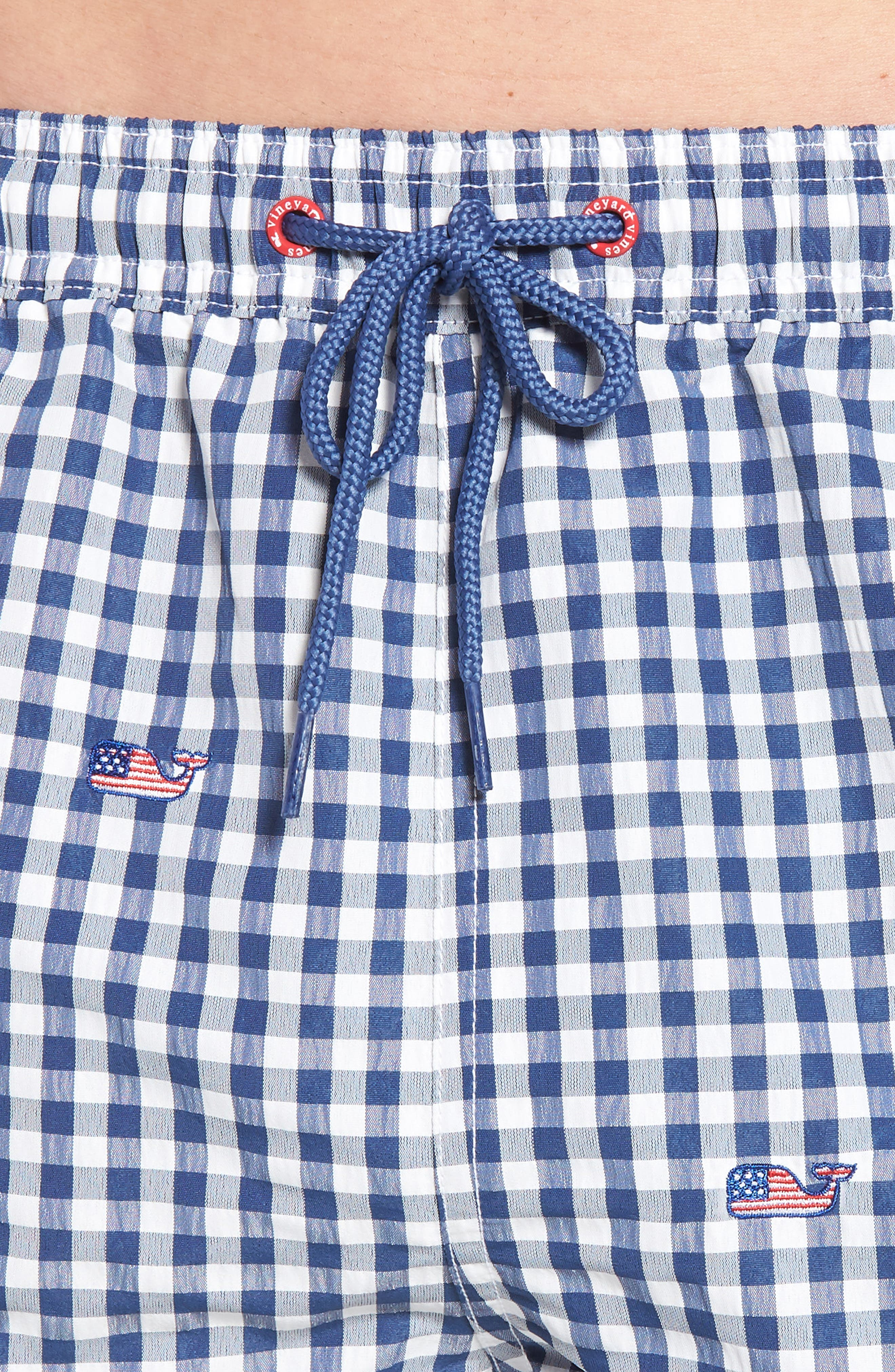 Chappy Flag Whale Embroidered Gingham Swim Trunks,                             Alternate thumbnail 4, color,                             461