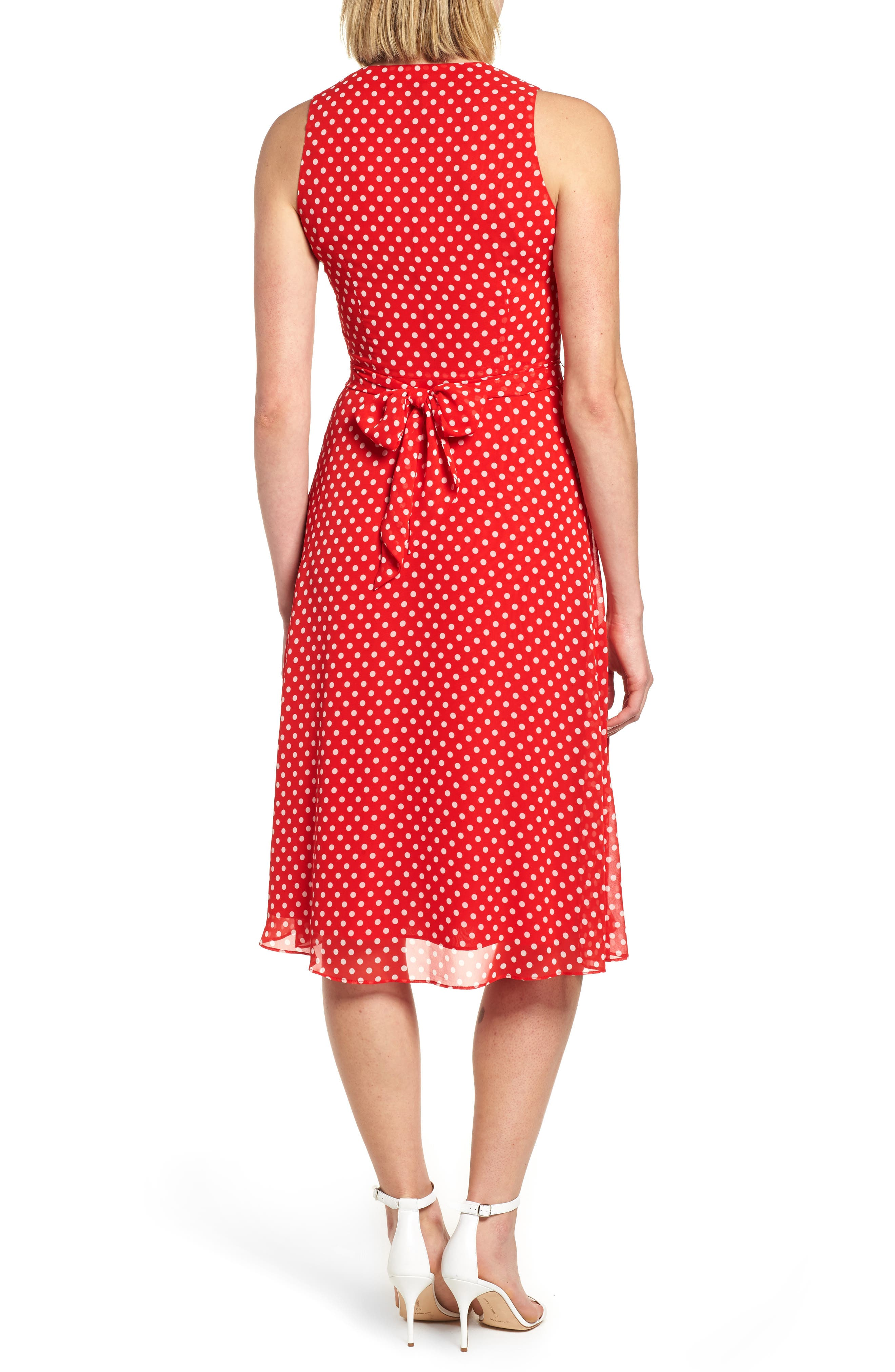 Polka Dot A-Line Dress,                             Alternate thumbnail 2, color,                             600