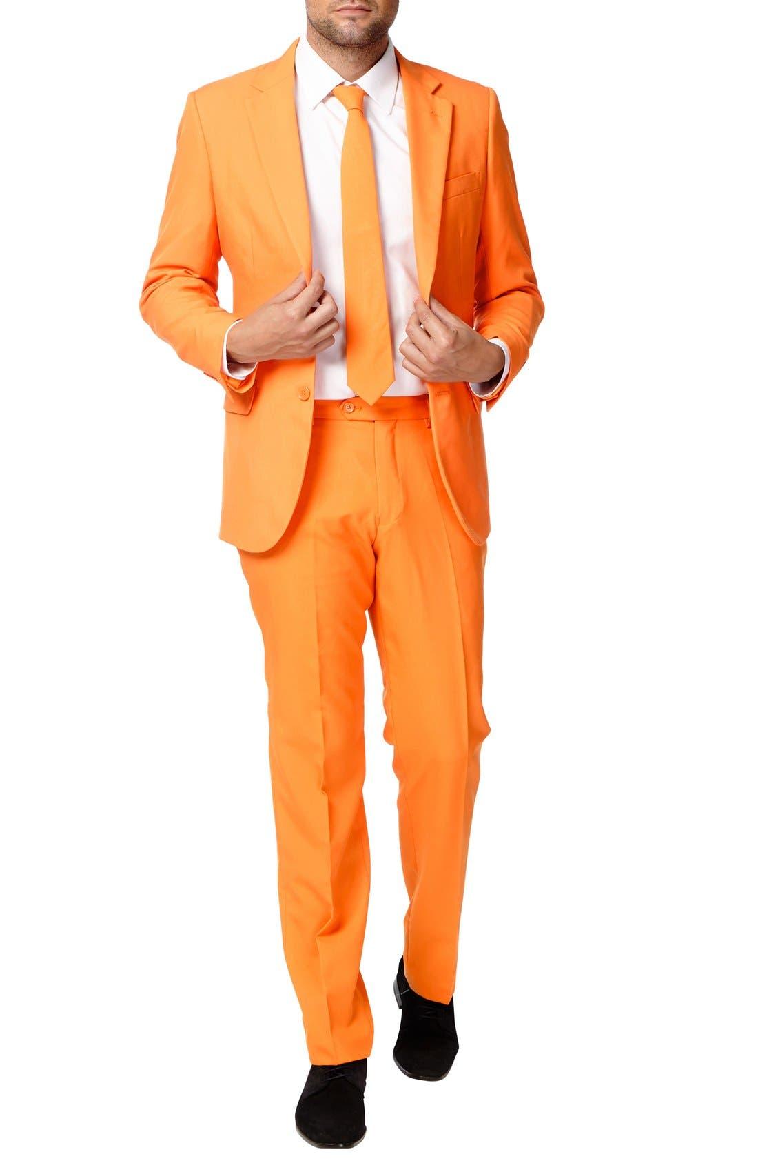 'The Orange' Trim Fit Two-Piece Suit with Tie,                             Main thumbnail 1, color,