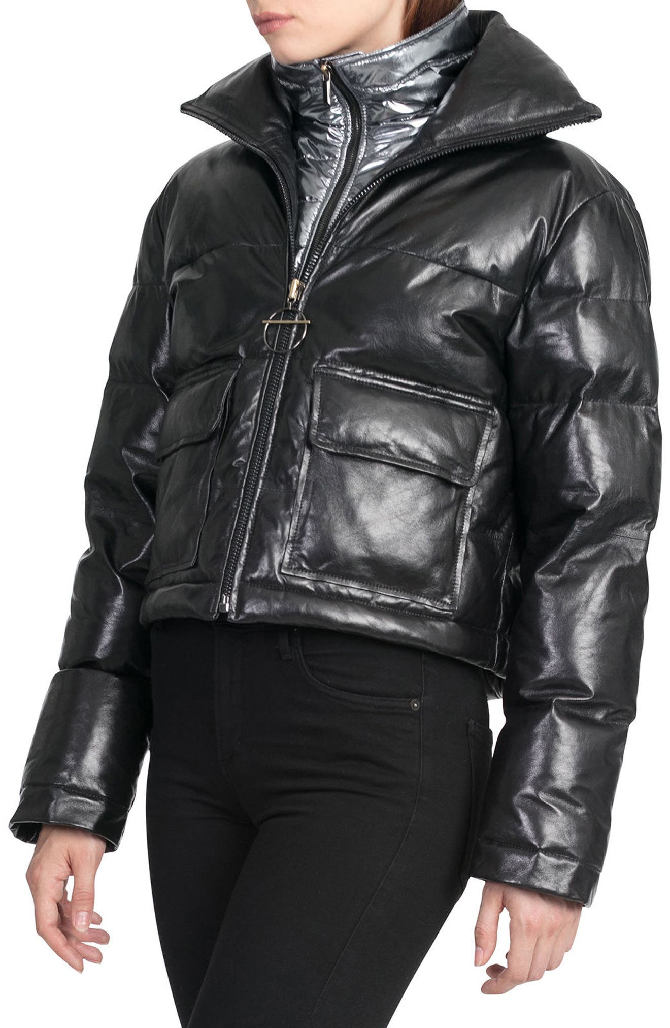 BAGATELLE.CITY The Puffer Leather Jacket with Removable Bib Lining,                             Alternate thumbnail 3, color,                             001