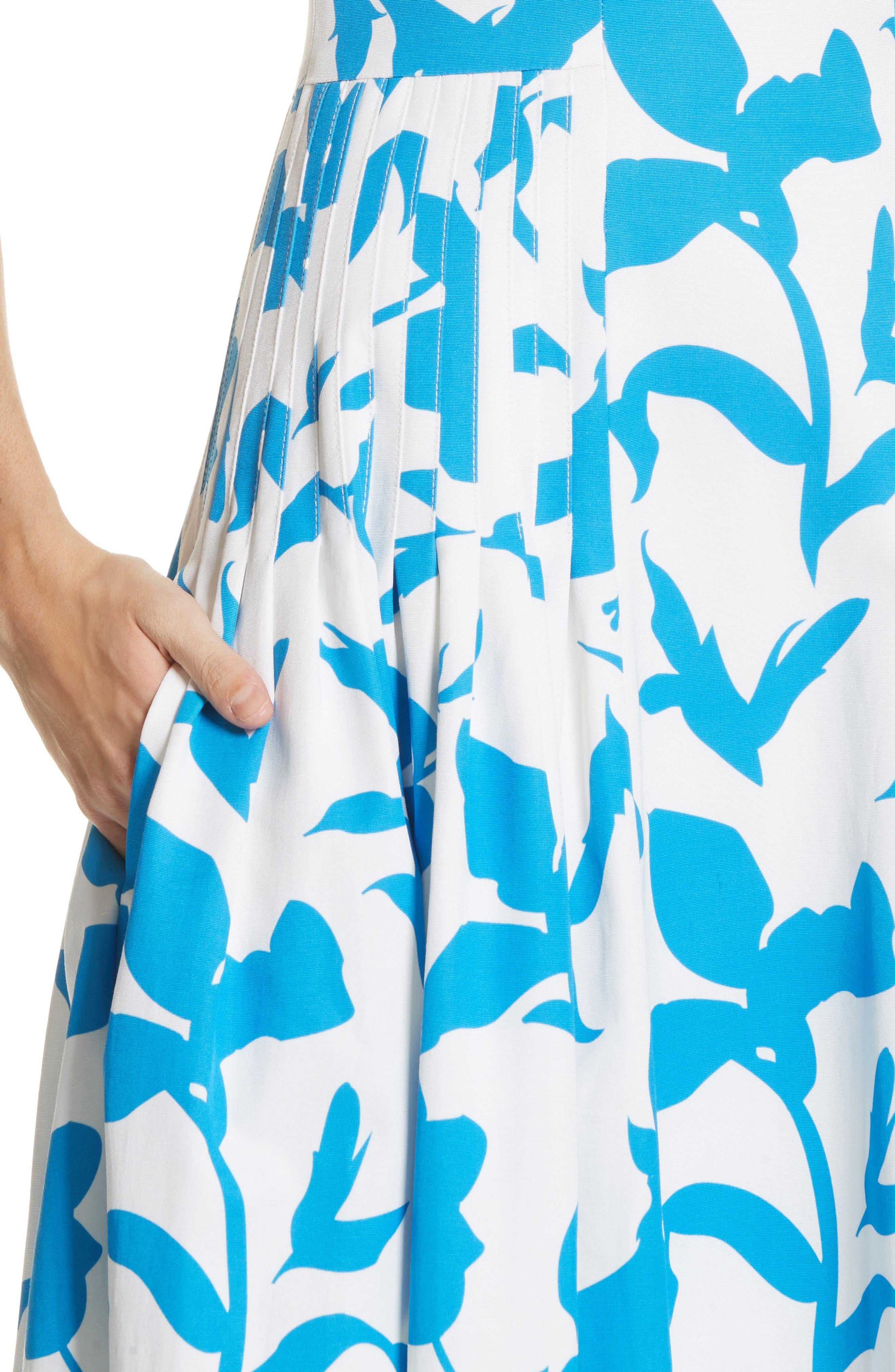 Pleated A-Line Midi Dress,                             Alternate thumbnail 4, color,                             100