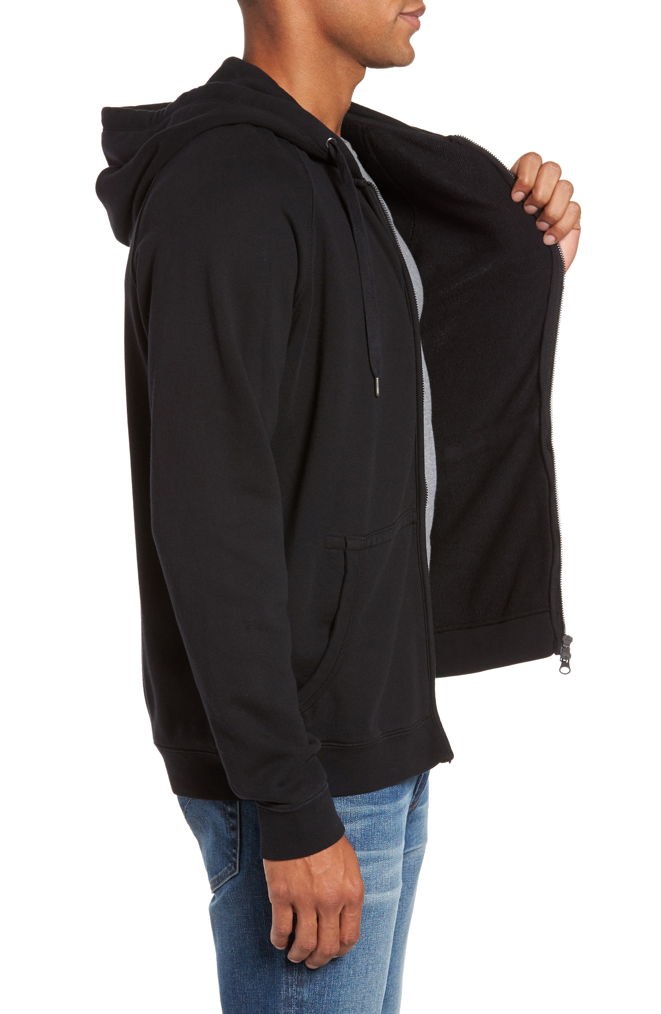 French Terry Zip Hoodie,                             Alternate thumbnail 3, color,                             001
