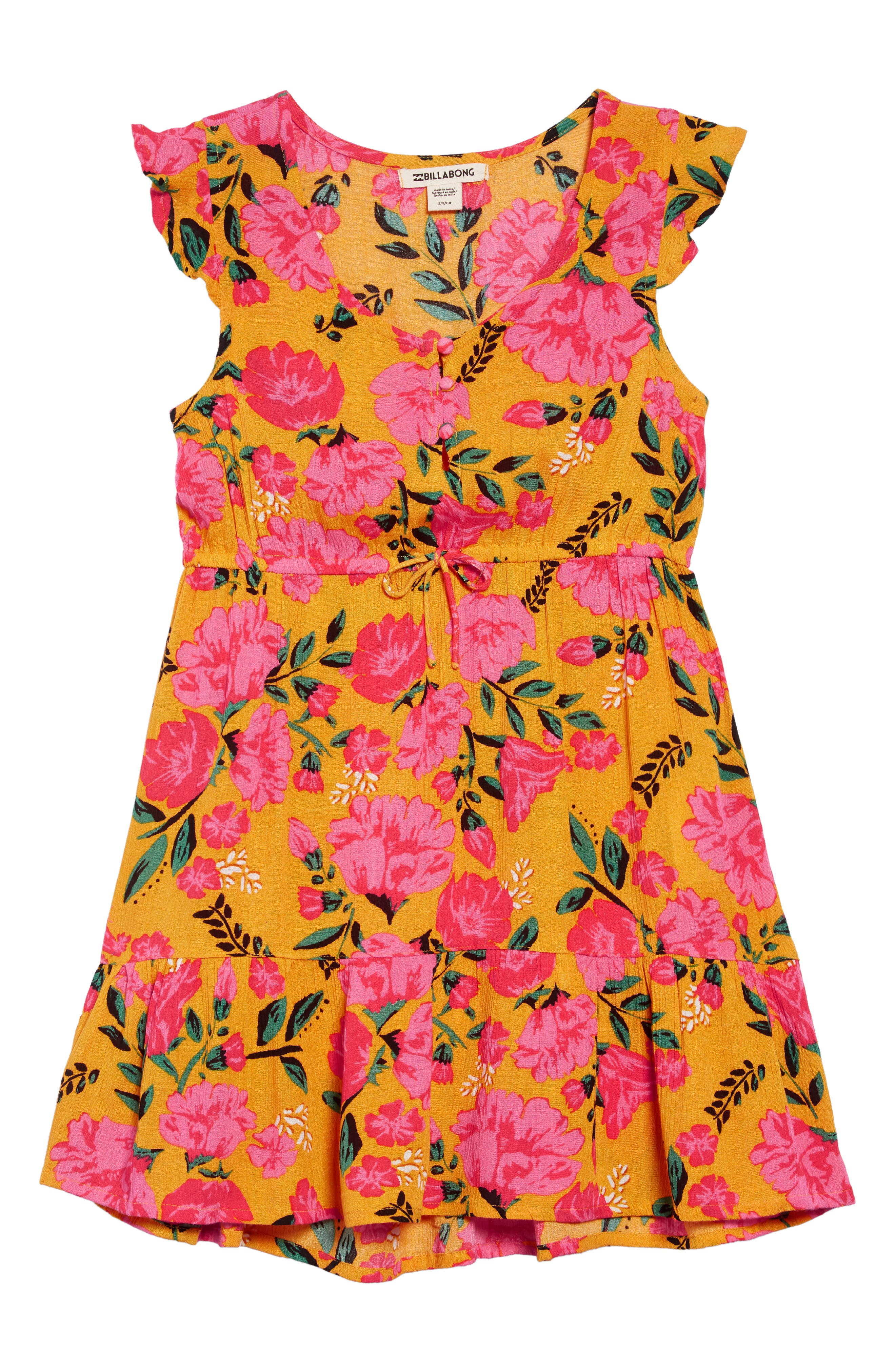 BILLABONG,                             Sing It Print Dress,                             Main thumbnail 1, color,                             GOLDEN GLOW