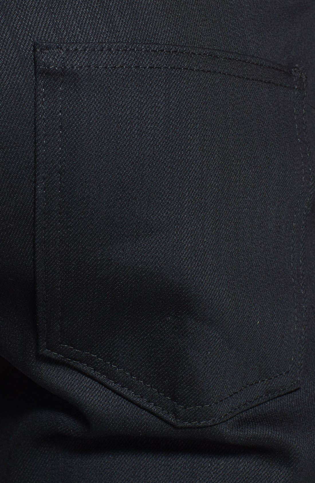 'Super Skinny Guy' Skinny Fit Raw Jeans,                             Alternate thumbnail 3, color,                             BLACK POWER STRETCH