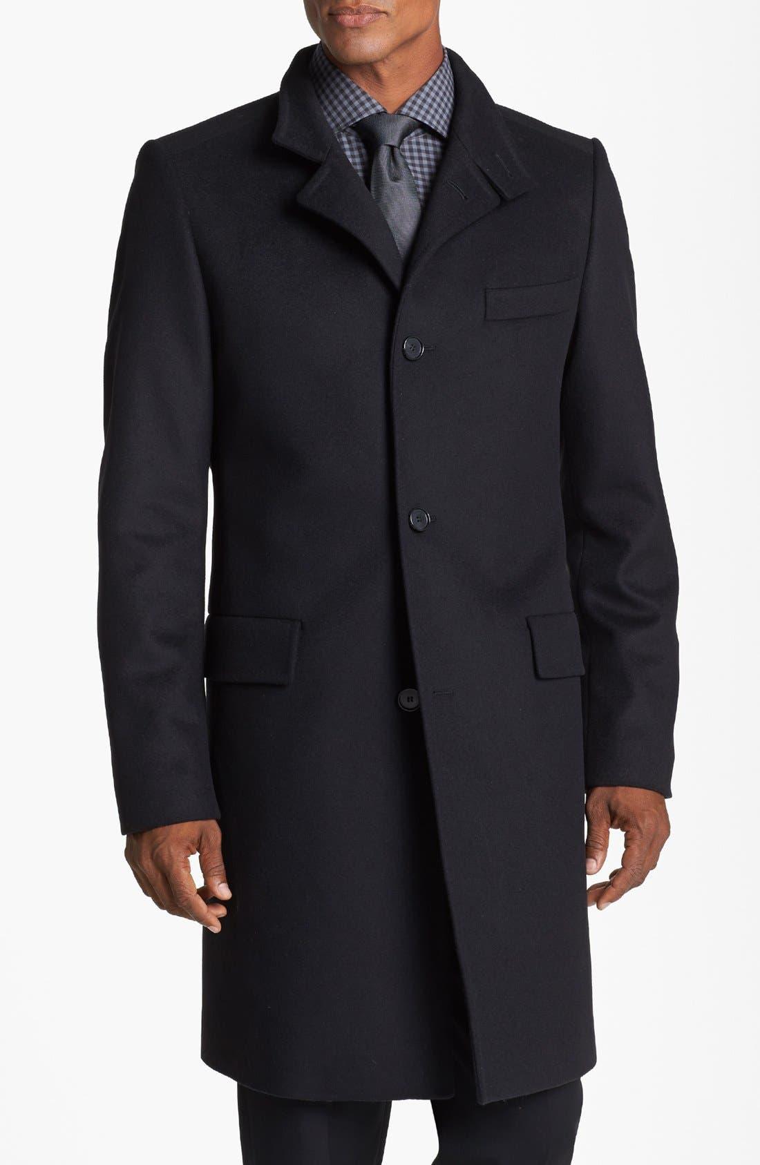 BOSS HUGO BOSS 'Sintrax' Wool Blend Coat,                             Alternate thumbnail 2, color,                             001