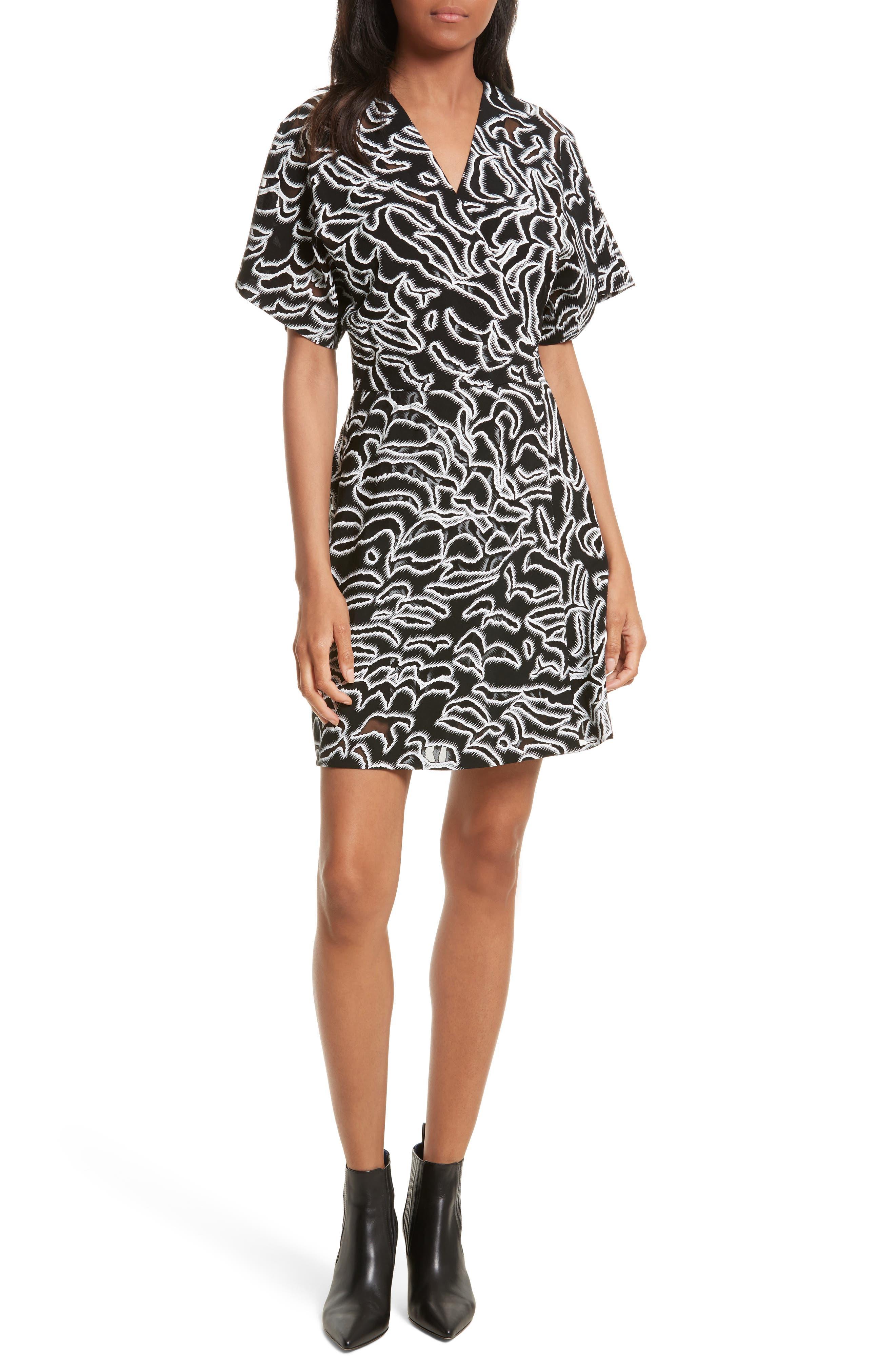 Burnout Print A-Line Wrap Dress,                             Main thumbnail 1, color,                             001