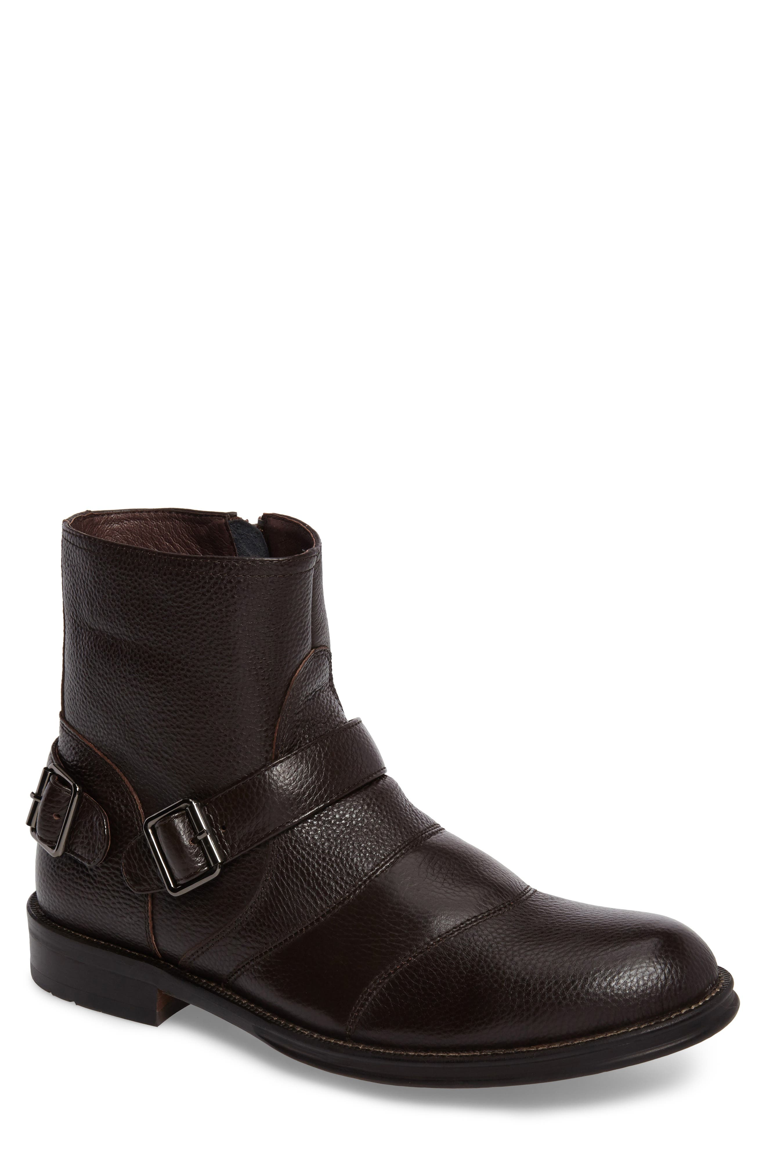 Howson Buckle Strap Boot,                             Main thumbnail 1, color,                             BROWN LEATHER