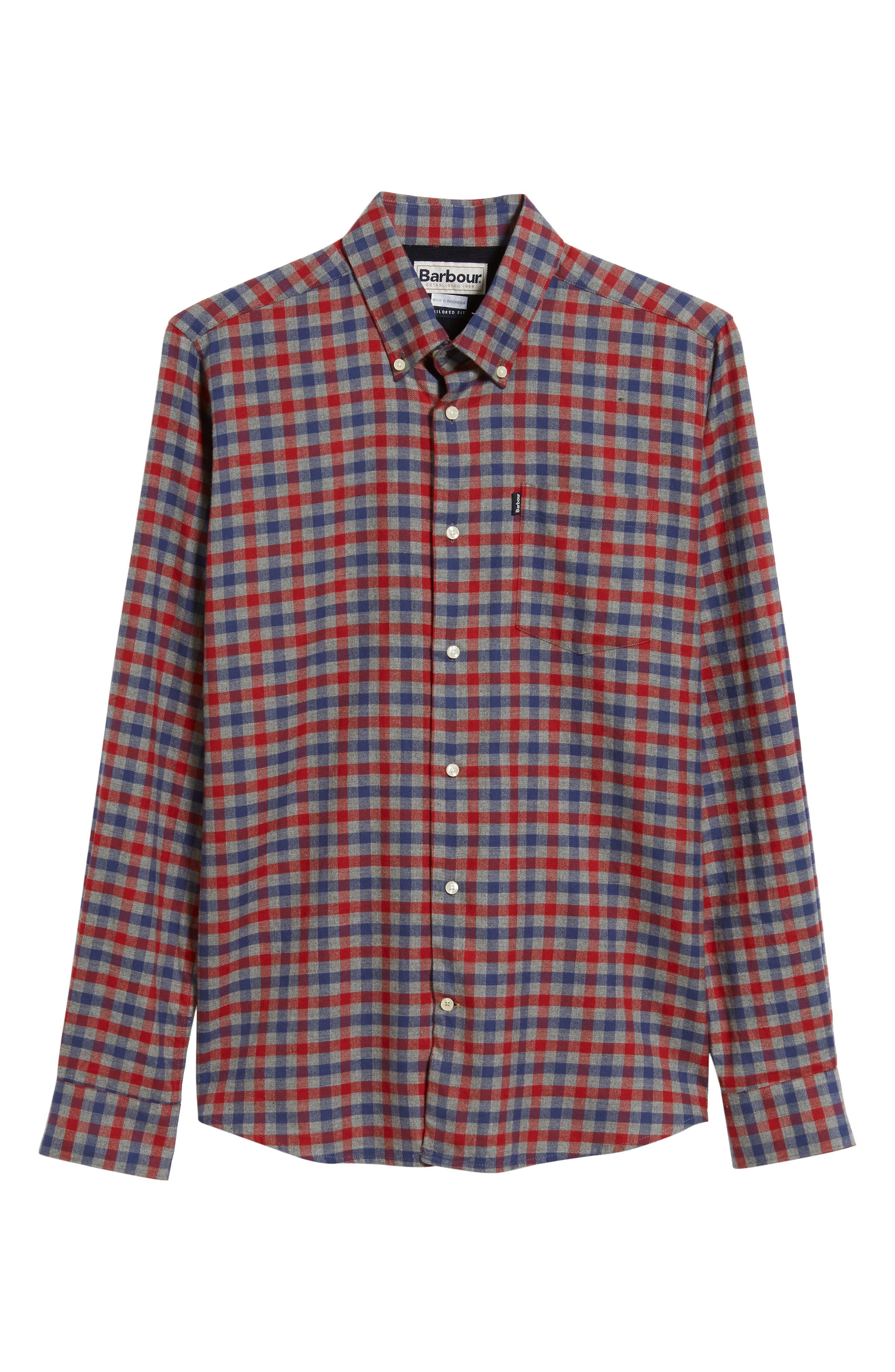 Moss Check Flannel Sport Shirt,                             Alternate thumbnail 5, color,                             630