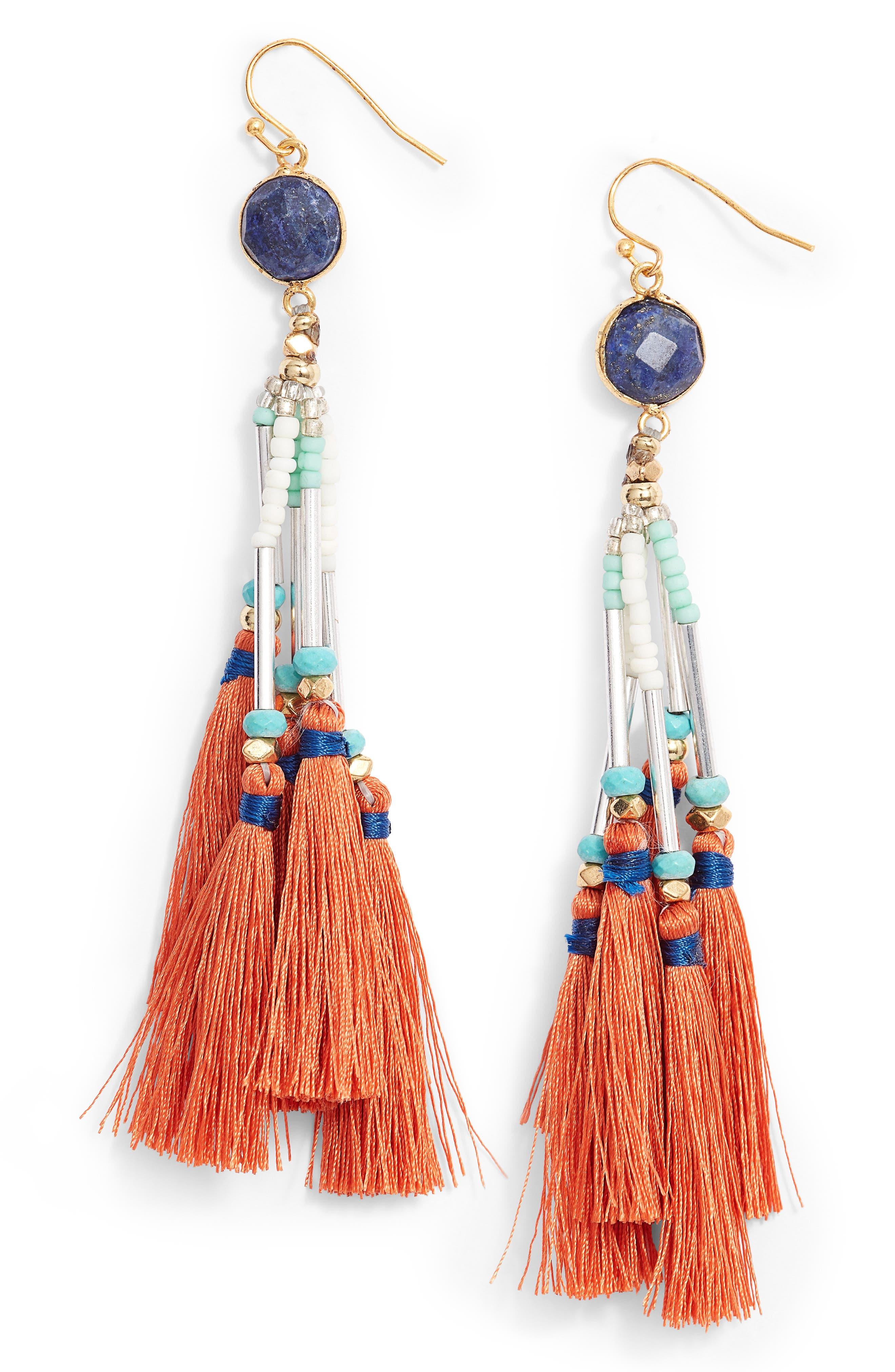 Tassel Drop Earrings,                         Main,                         color, ORANGE