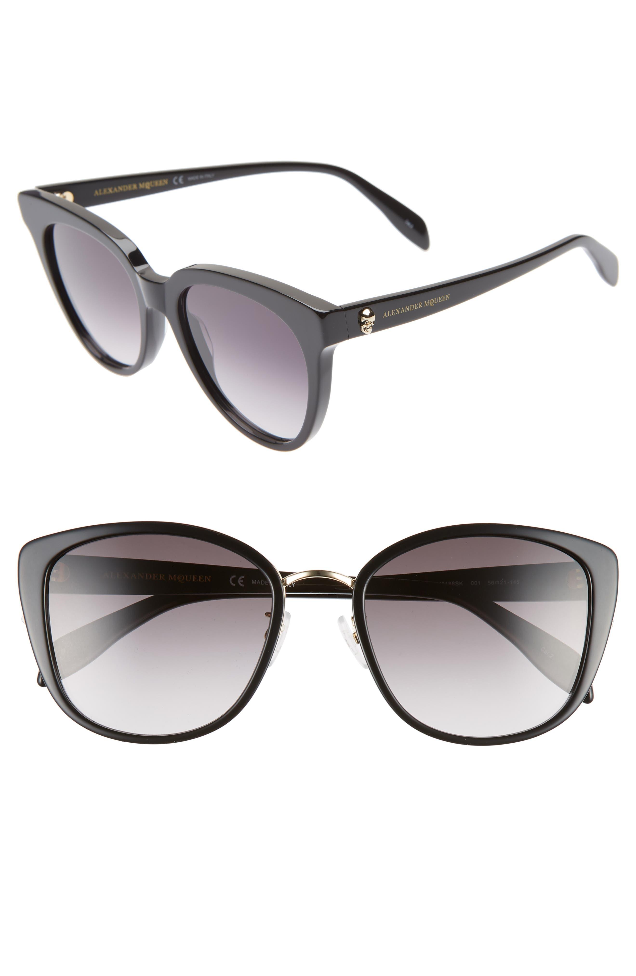 ALEXANDER MCQUEEN 56mm Gradient Round Sunglasses, Main, color, BLACK/ GOLD
