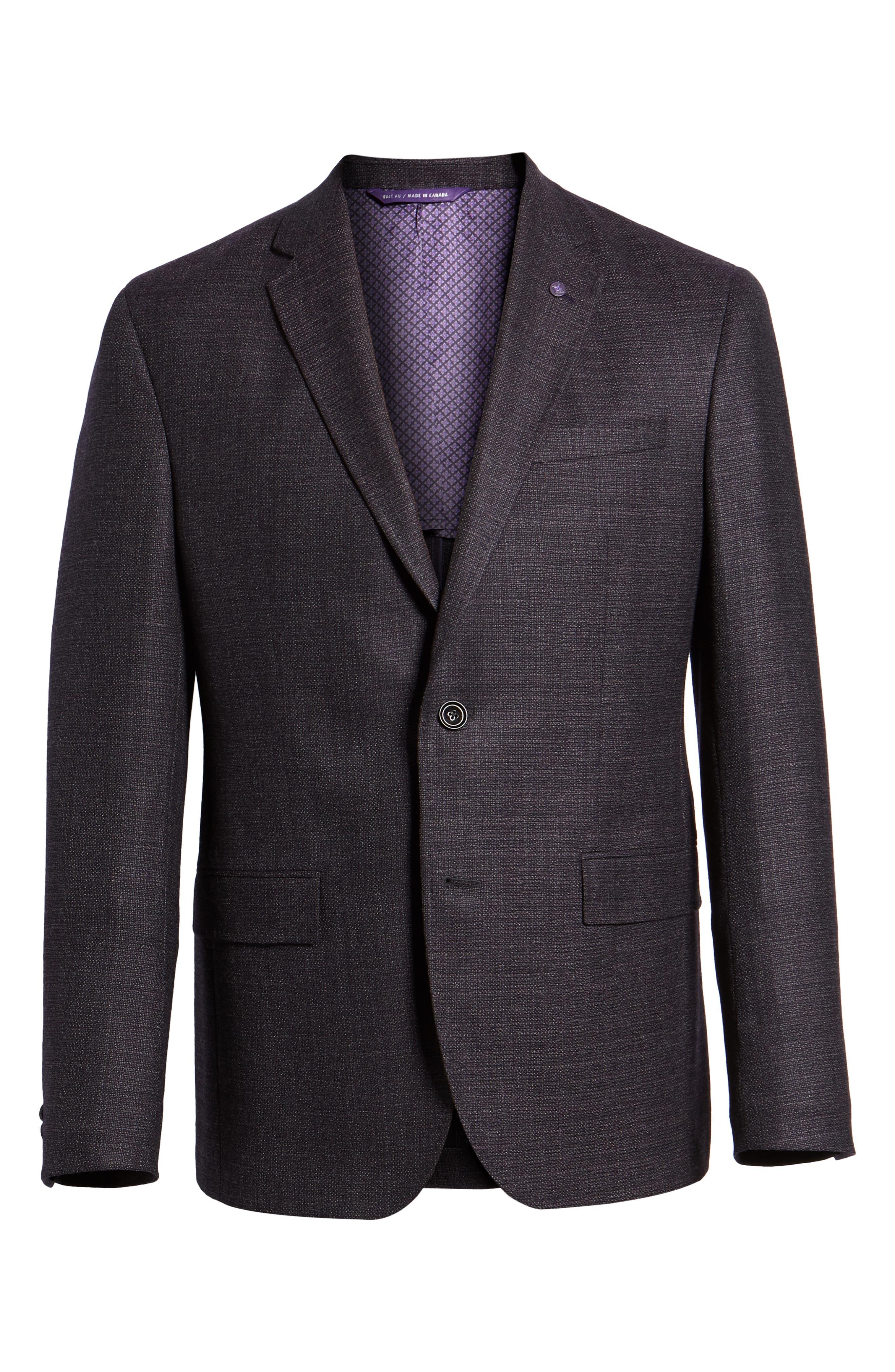 Konan 2B Trim Fit Wool Blazer,                             Alternate thumbnail 5, color,                             PLUM