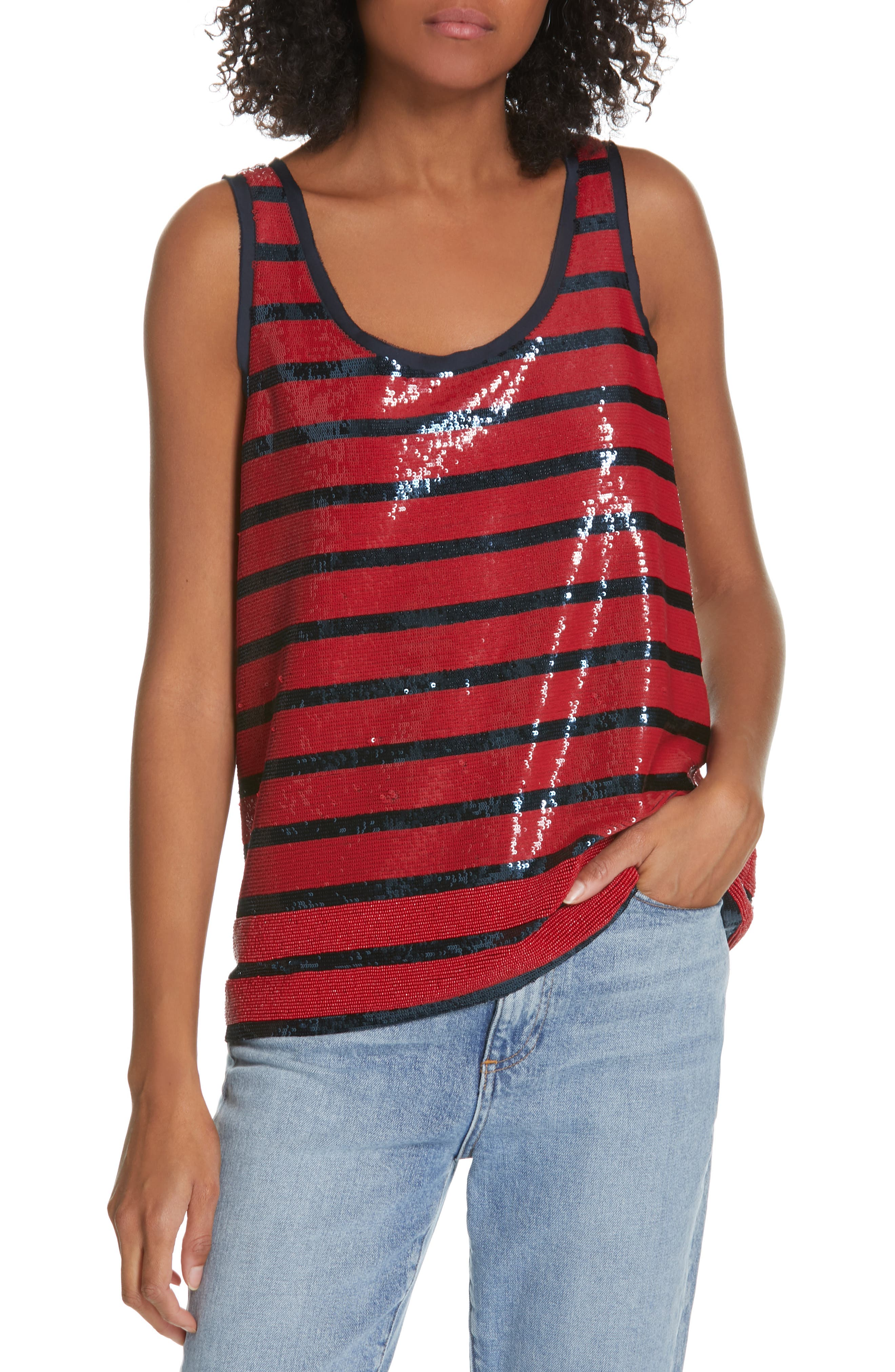 Stripe Sequin Tank Top,                             Main thumbnail 1, color,                             RED/ NAVY STRIPE