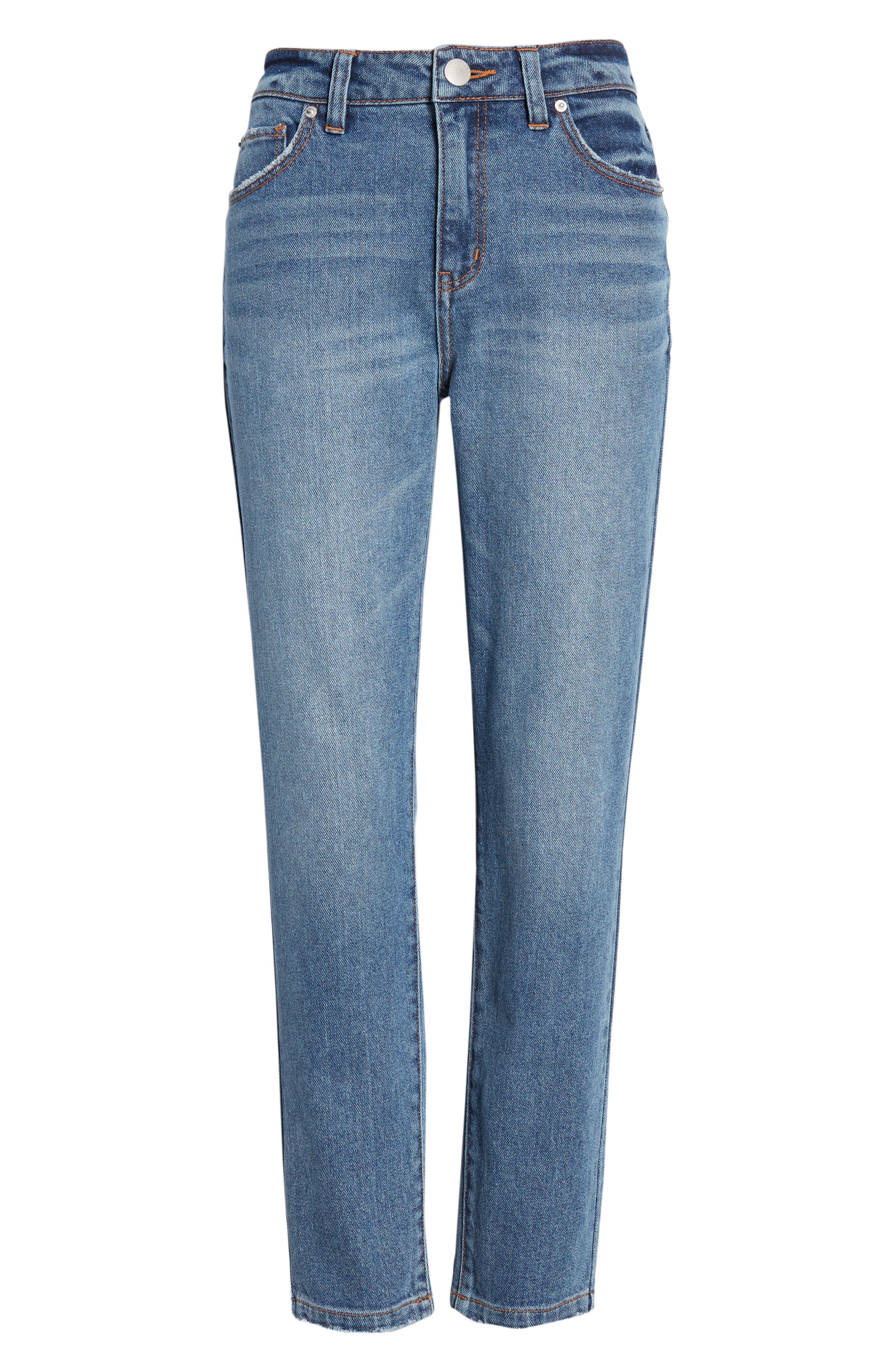 Ankle Straight Leg Jeans,                             Alternate thumbnail 7, color,                             MEDIUM WASH