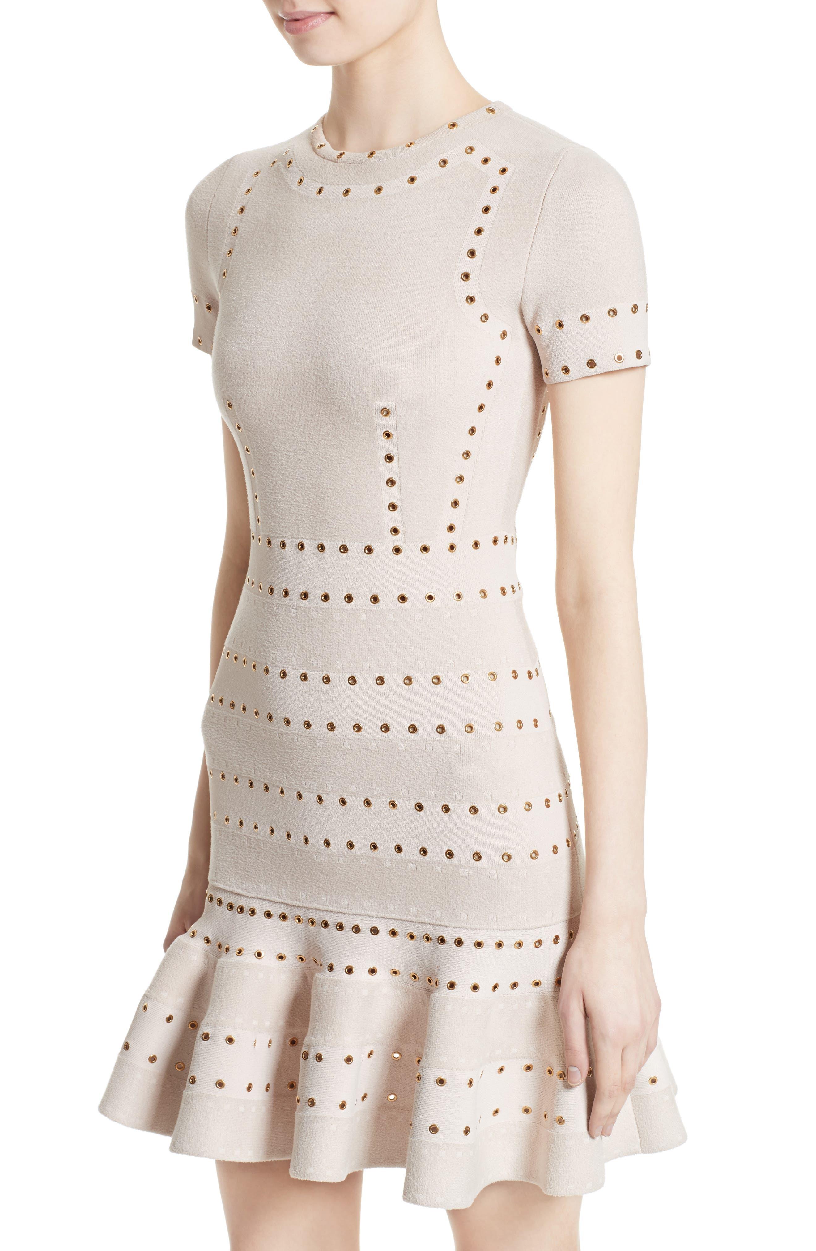 Eyelet Detail Knit Dress,                             Alternate thumbnail 4, color,                             900