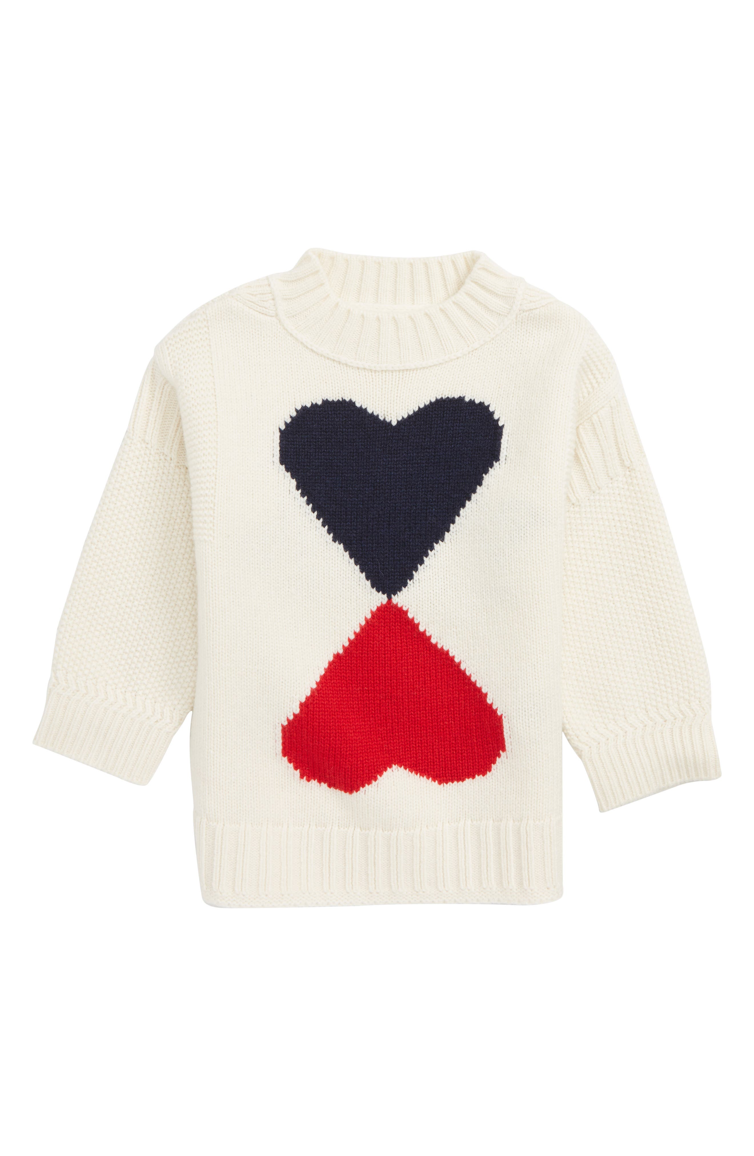 Double Heart Wool & Cashmere Sweater,                             Main thumbnail 1, color,                             IVORY