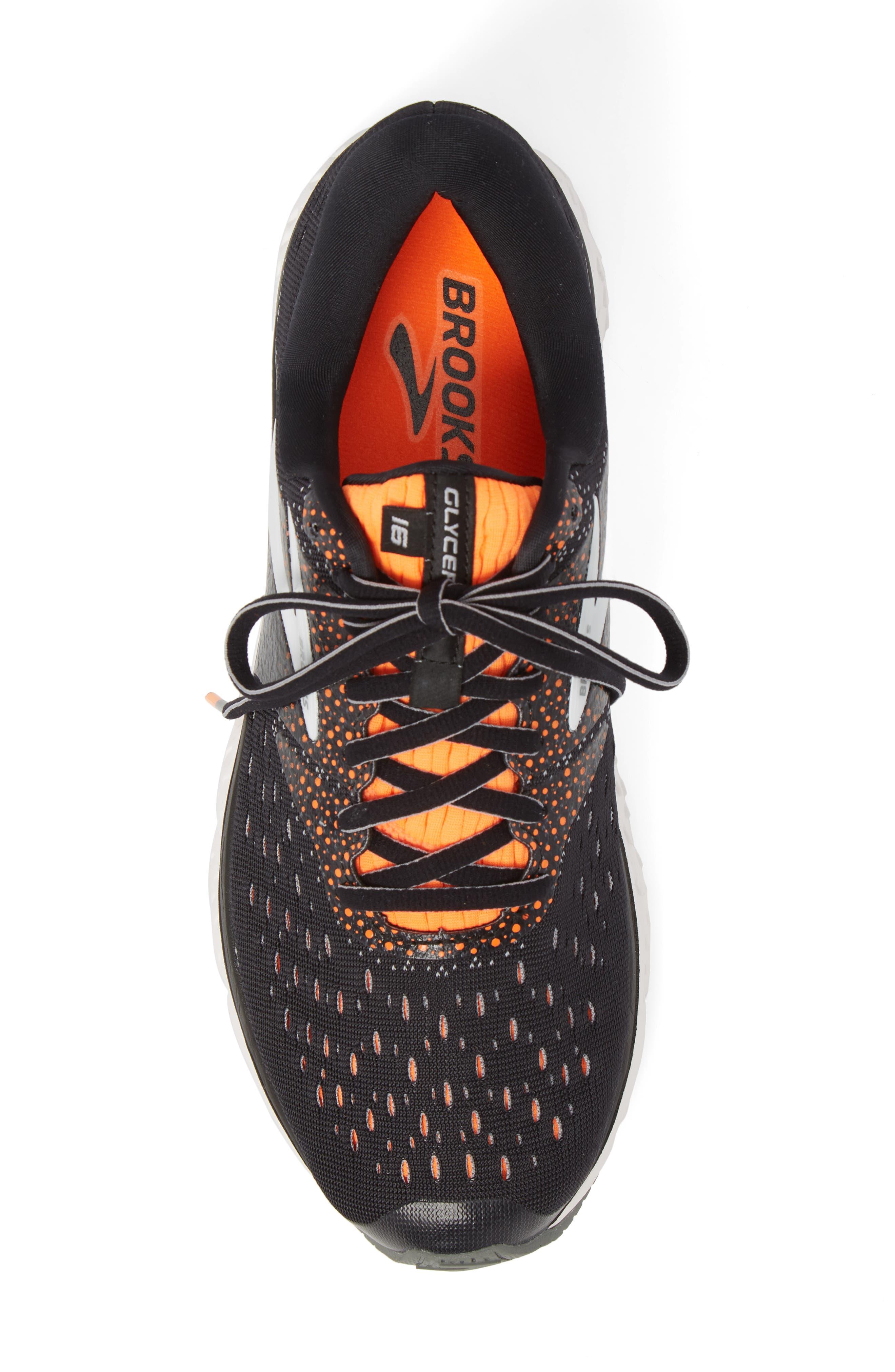 Glycerin 16 Running Shoe,                             Alternate thumbnail 5, color,                             BLACK/ ORANGE/ GREY