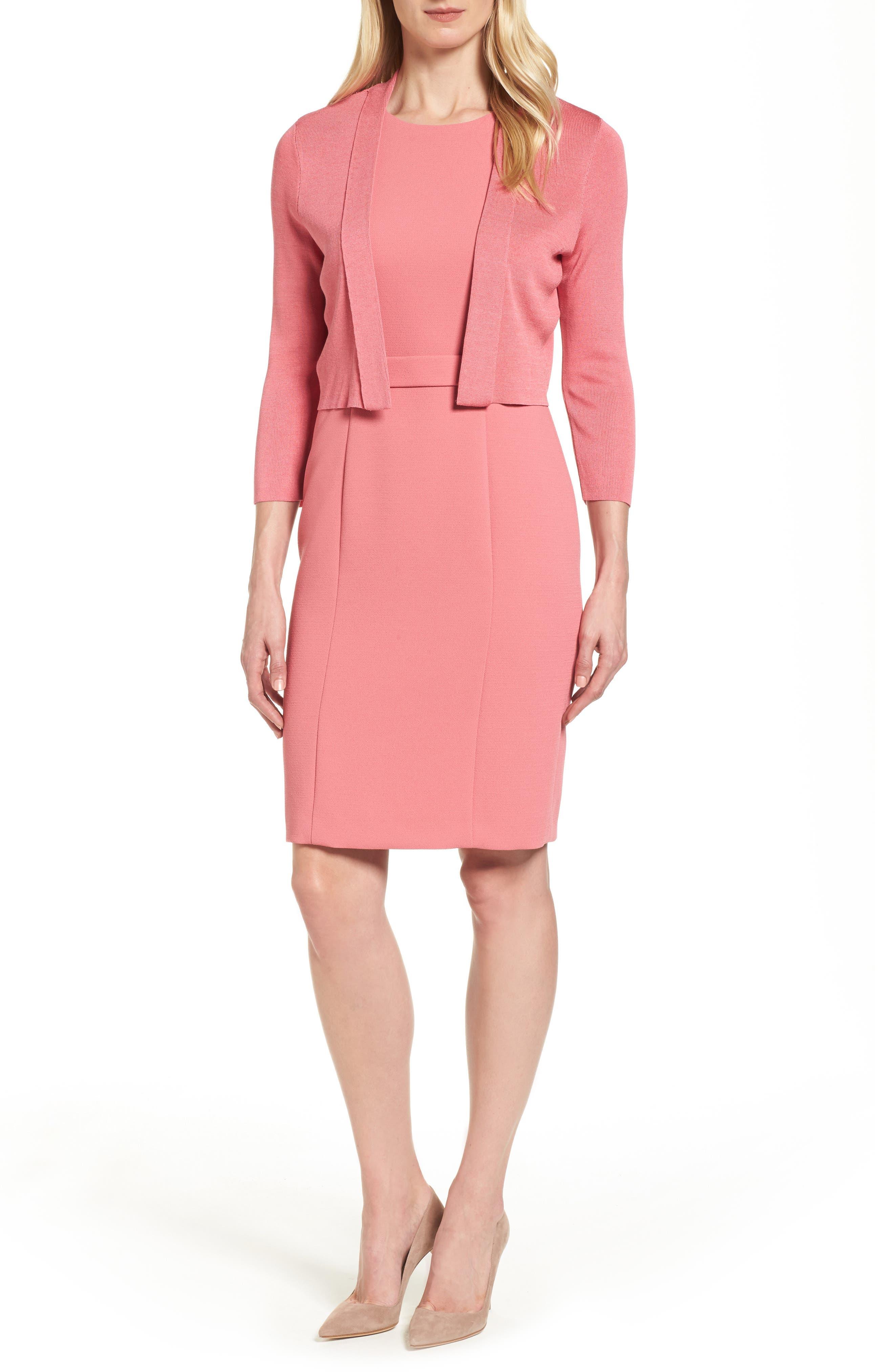 Dalanea Belted Sheath Dress,                             Alternate thumbnail 7, color,