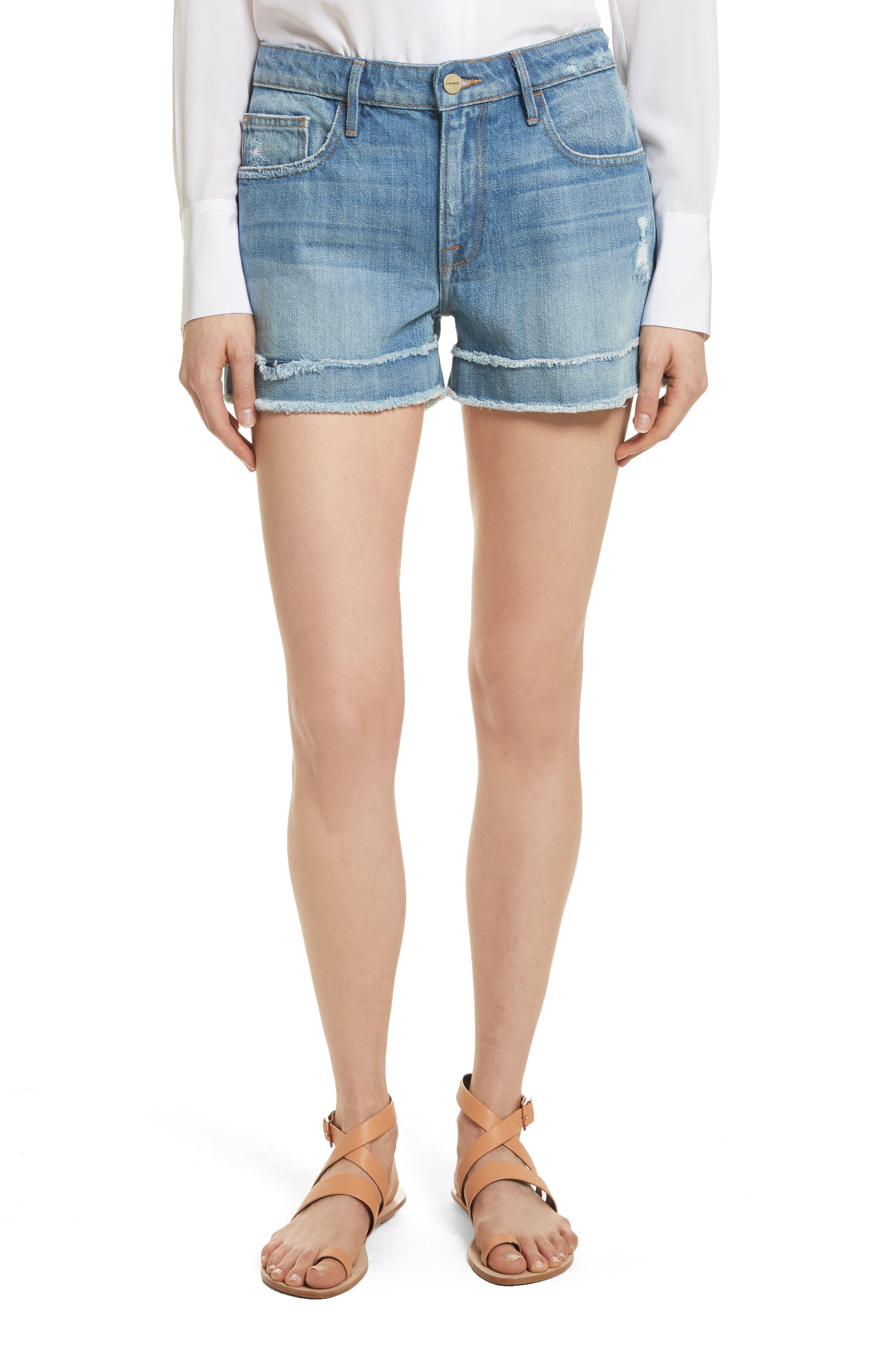 Le Grand Garçon Fray Cuff Denim Shorts,                         Main,                         color, 420