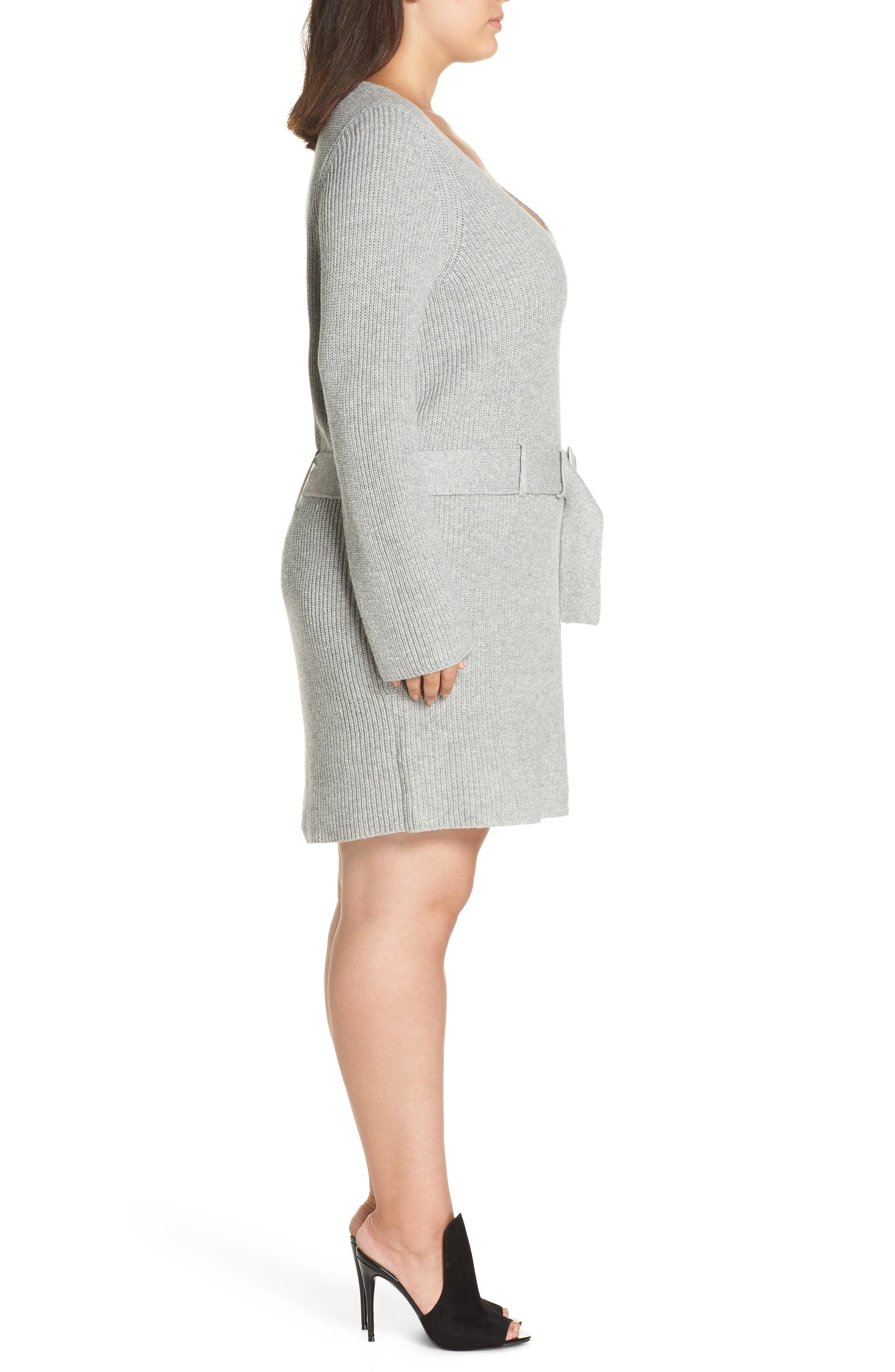 Belted Sweater Dress,                             Alternate thumbnail 3, color,                             GREY MEDIUM HEATHER