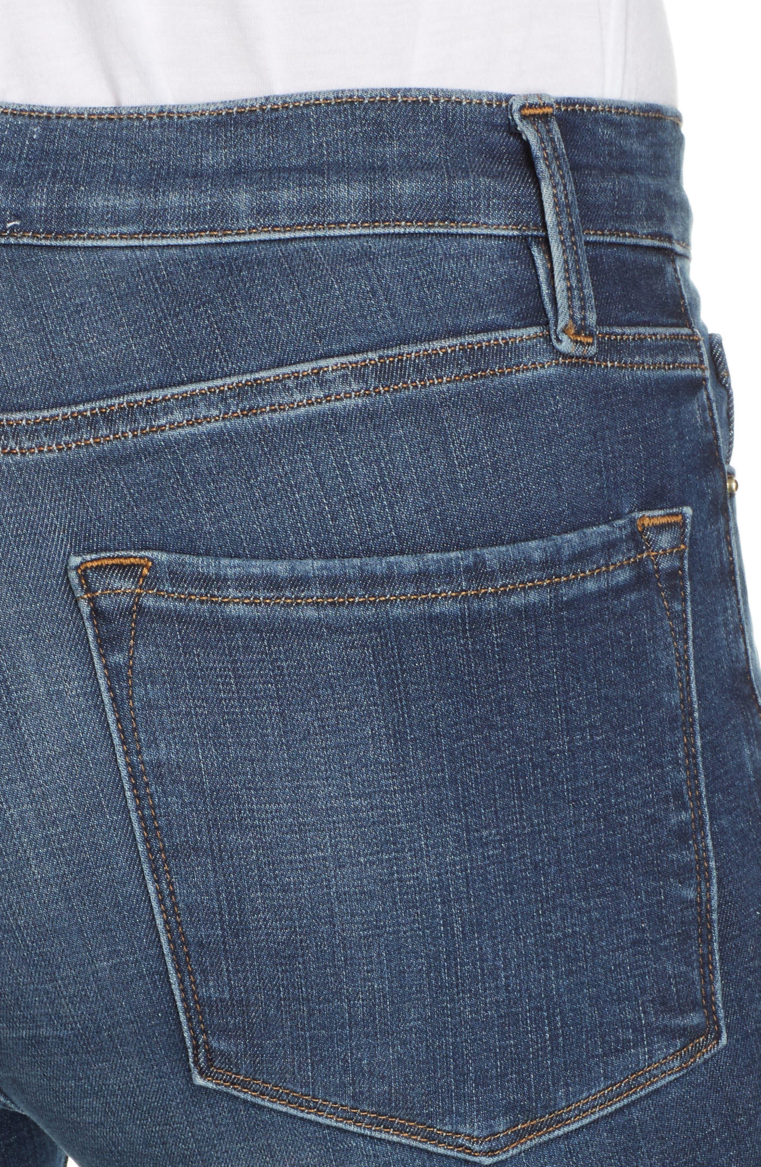 Le Skinny de Jeanne Ripped Raw Hem Ankle Jeans,                             Alternate thumbnail 4, color,                             JOLIE
