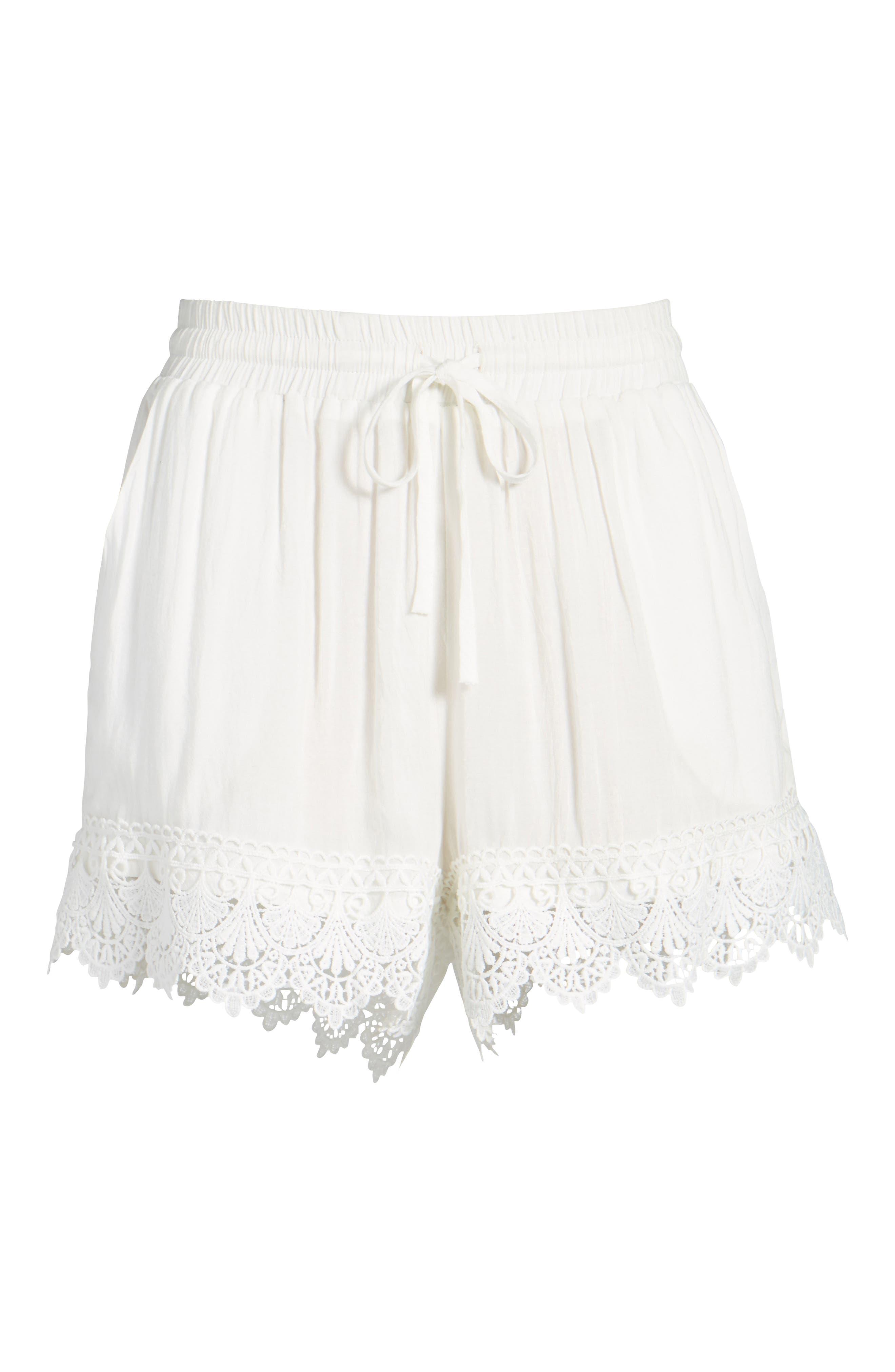 Lace Hem Shorts,                             Alternate thumbnail 6, color,                             100