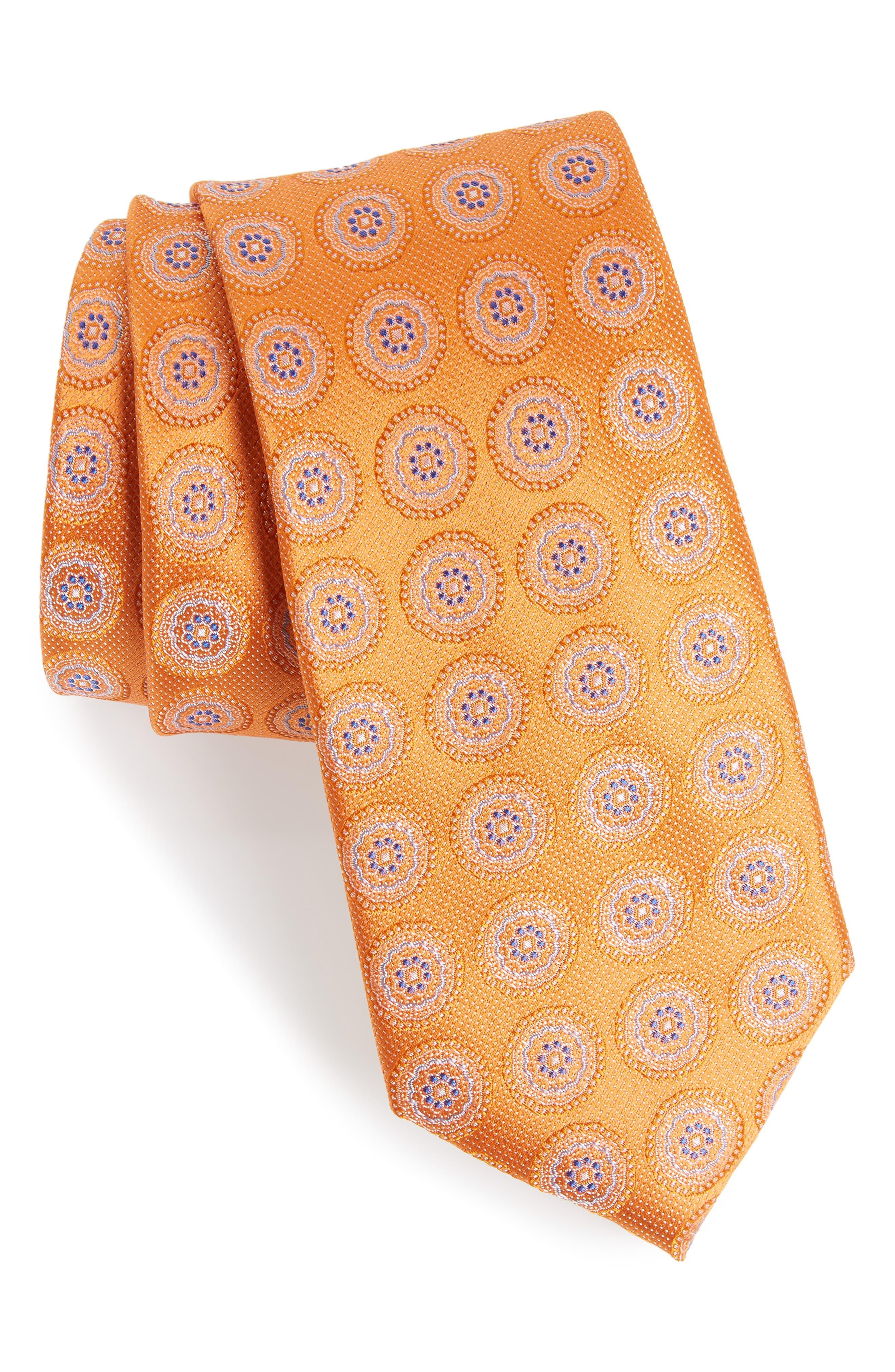 Pinpoint Medallion Silk Tie,                             Main thumbnail 6, color,