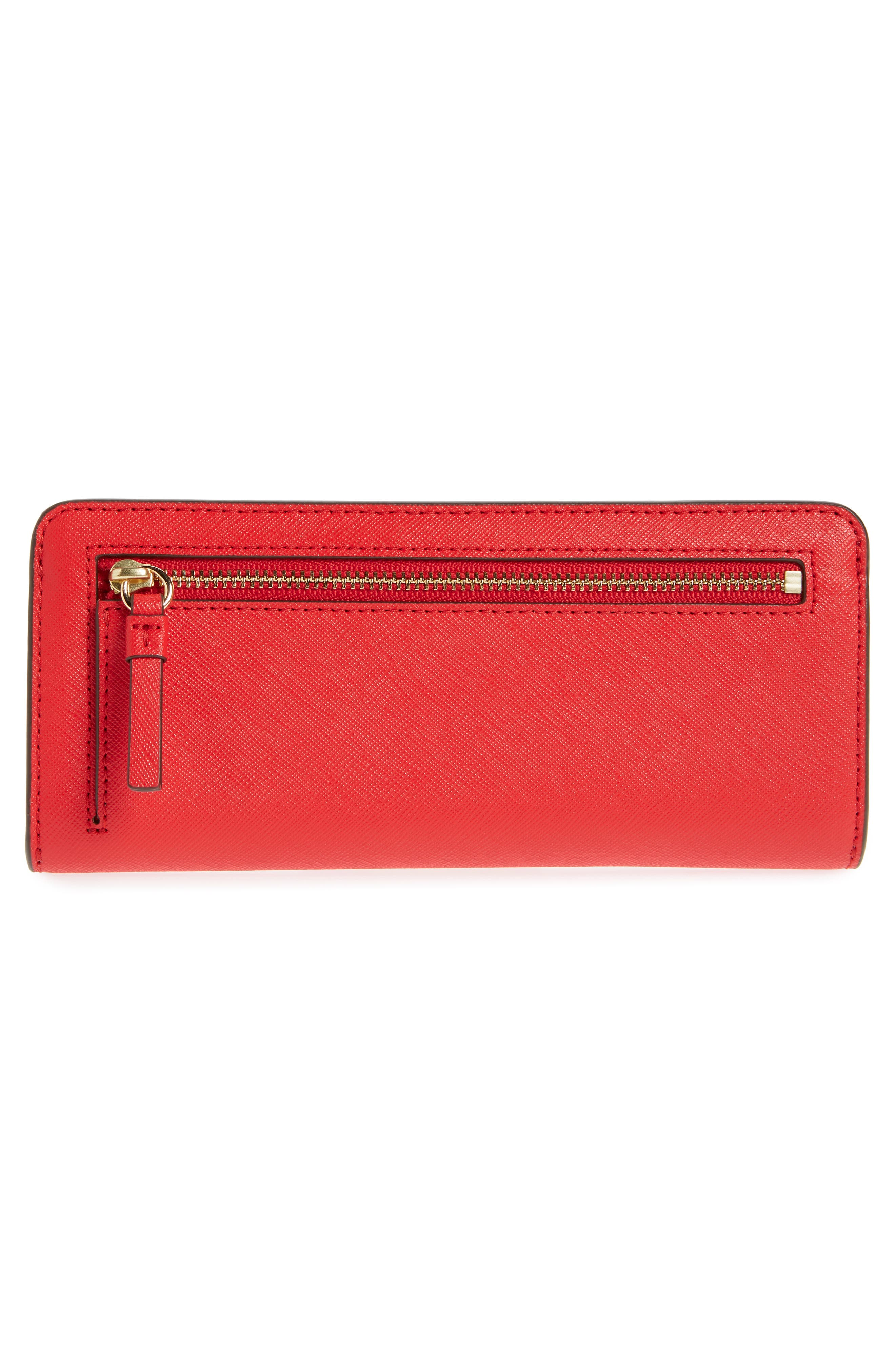 Robinson Saffiano Leather Continental Wallet,                             Alternate thumbnail 3, color,                             BRILLIANT RED