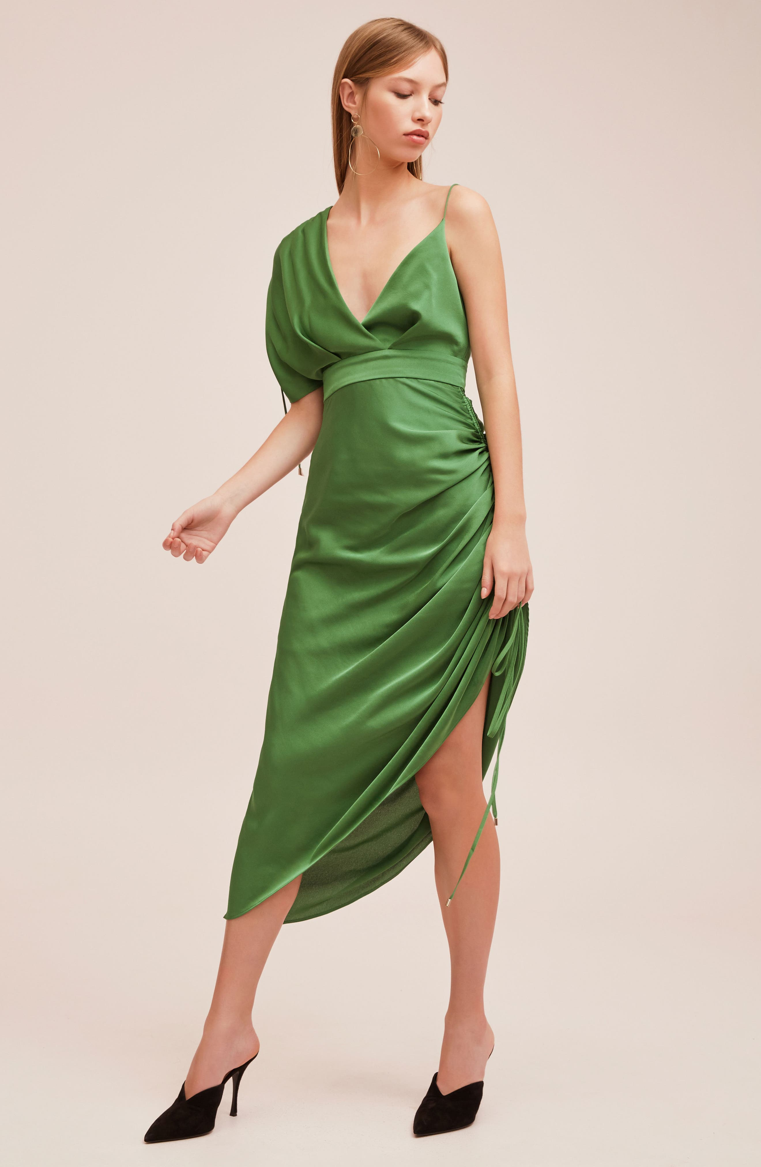 I've Got You Asymmetrical Satin Dress,                             Alternate thumbnail 7, color,                             310