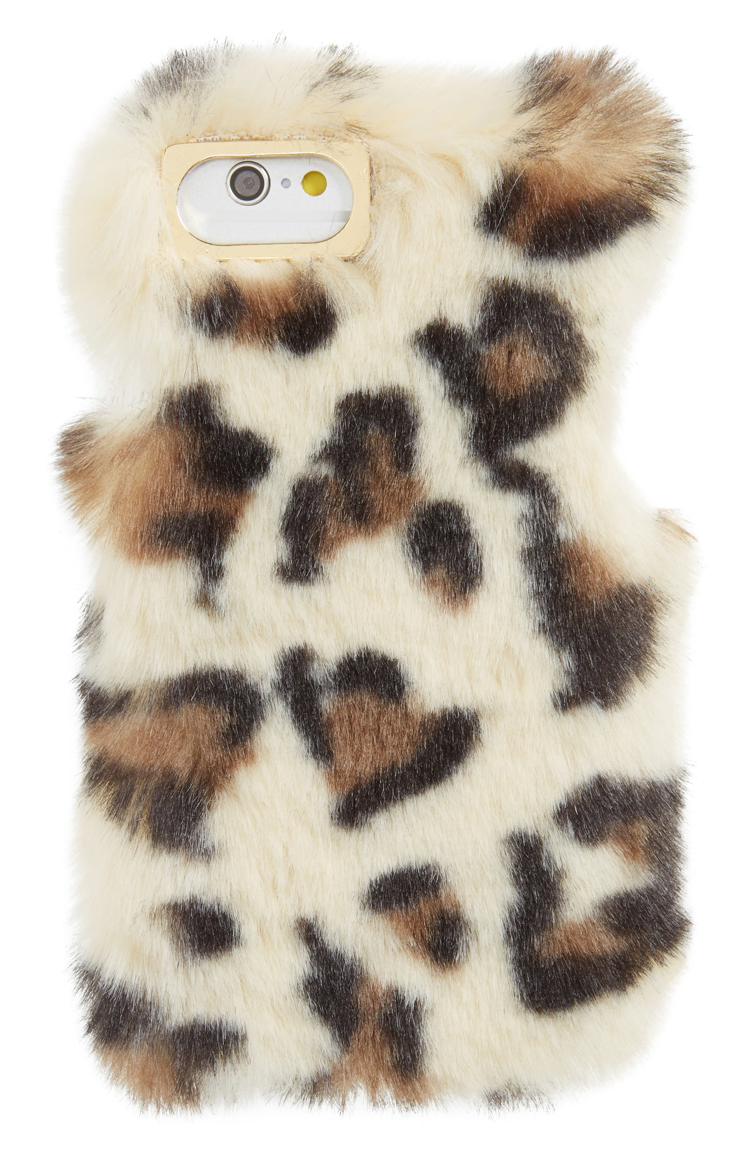 Faux Leopard iPhone 6/6s/7 Case,                             Main thumbnail 1, color,
