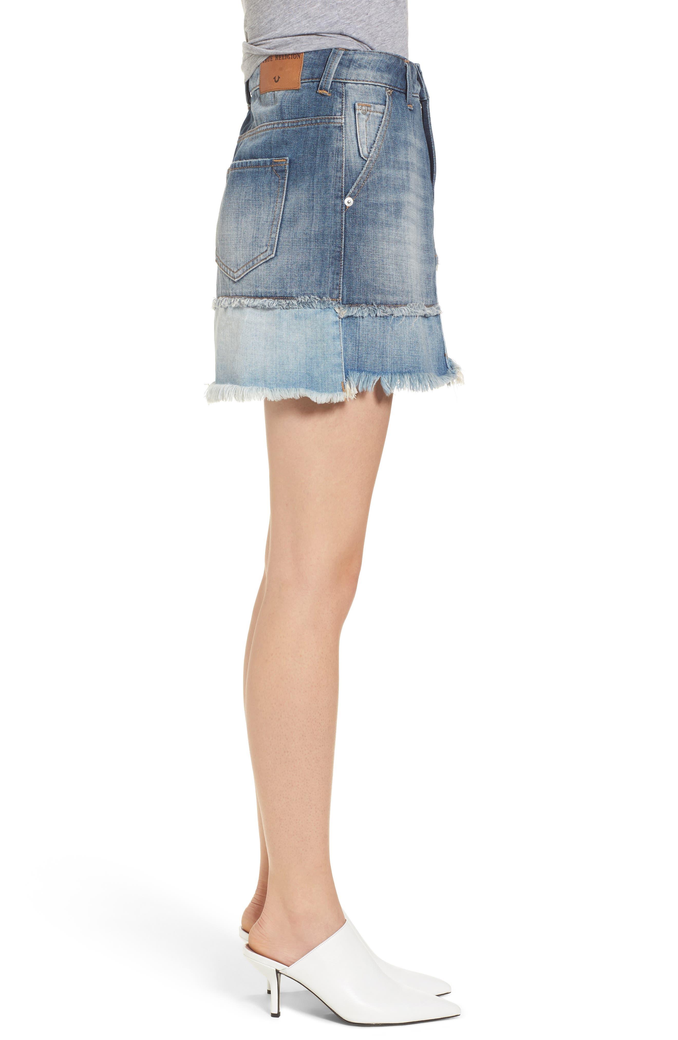 Patchwork Denim Miniskirt,                             Alternate thumbnail 3, color,                             401