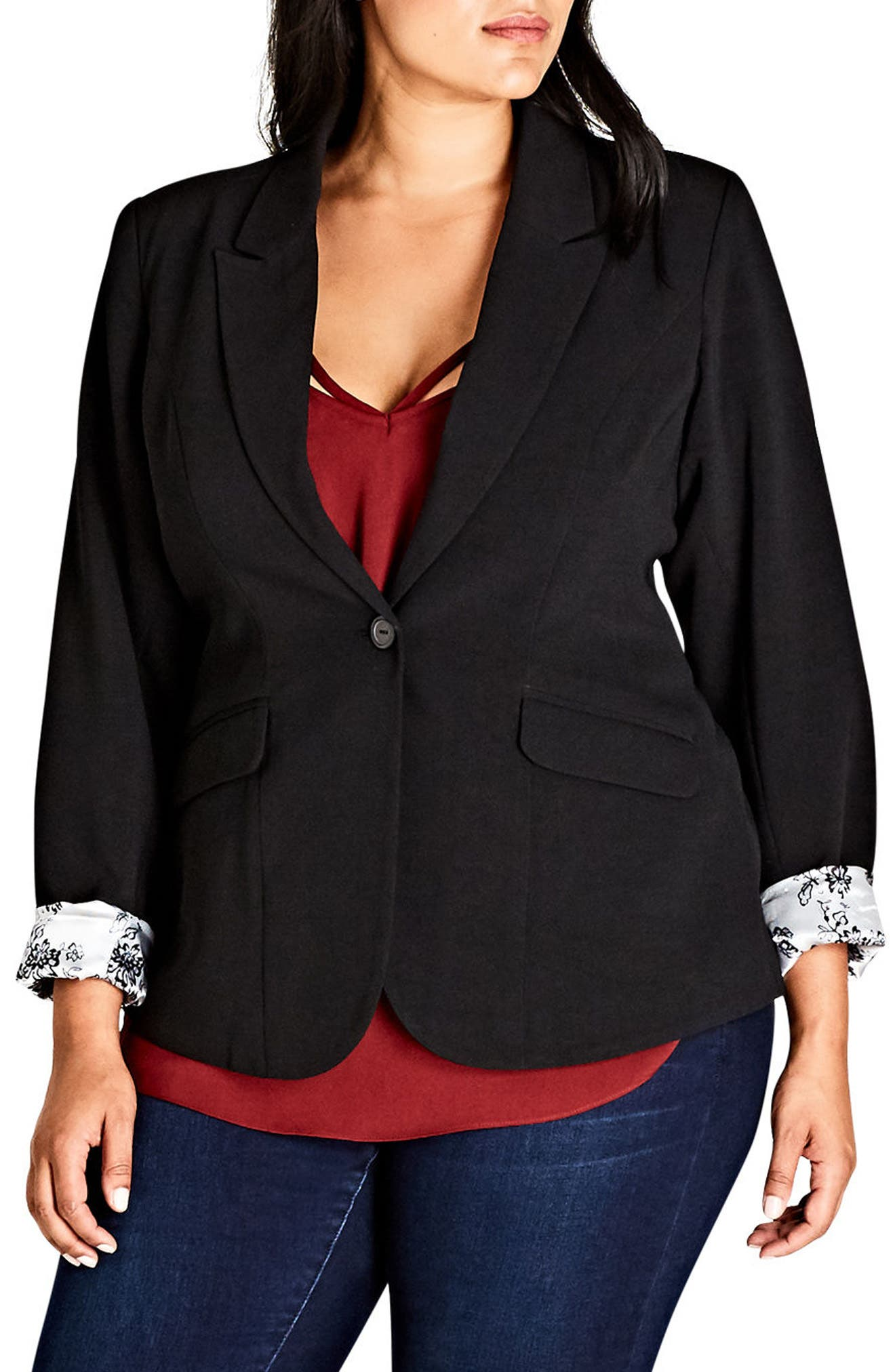 Rolled Cuff Jacket,                             Main thumbnail 1, color,                             BLACK