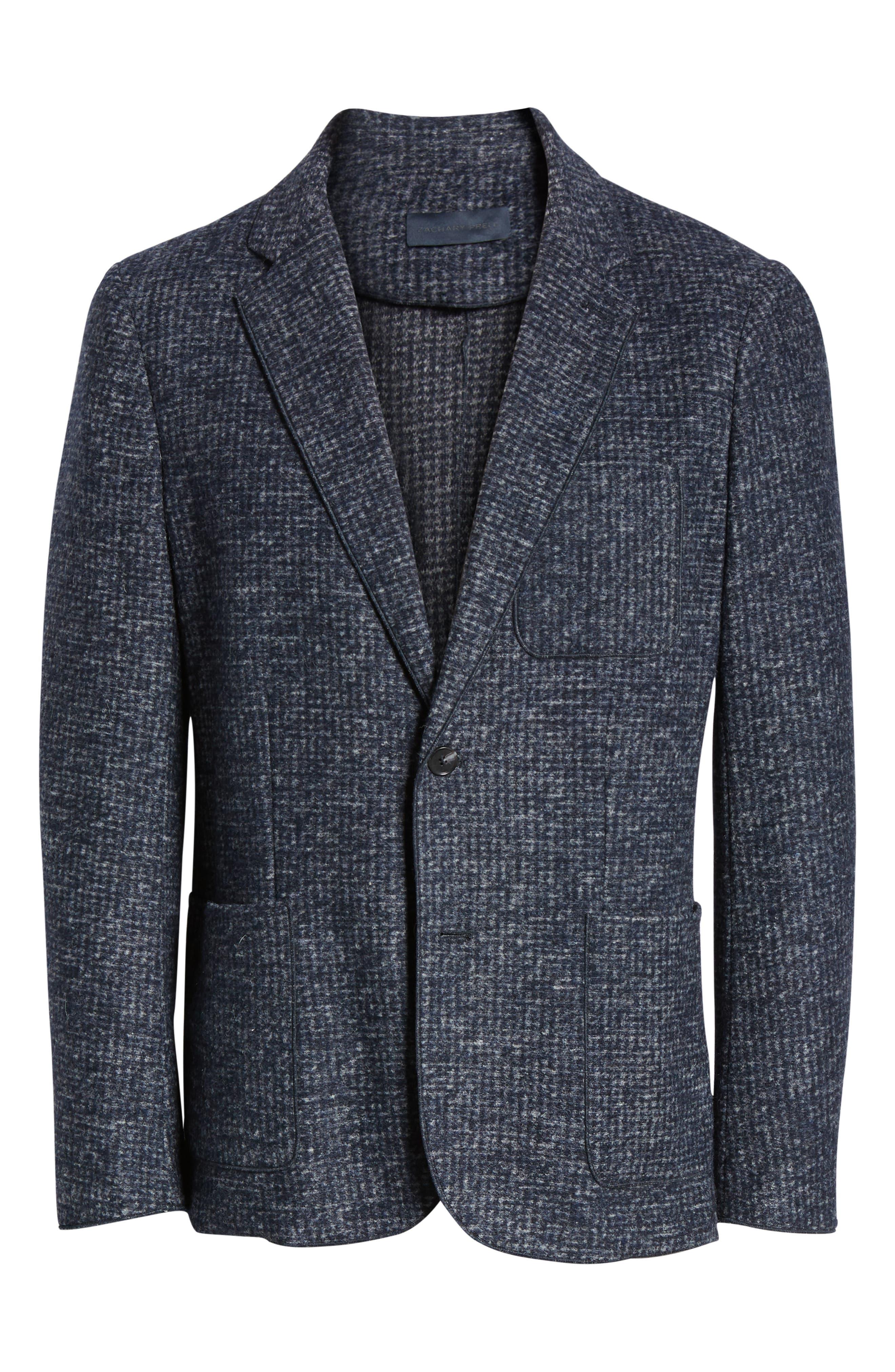 Randolph Houndstooth Knit Sport Coat,                             Alternate thumbnail 5, color,                             DARK BLUE