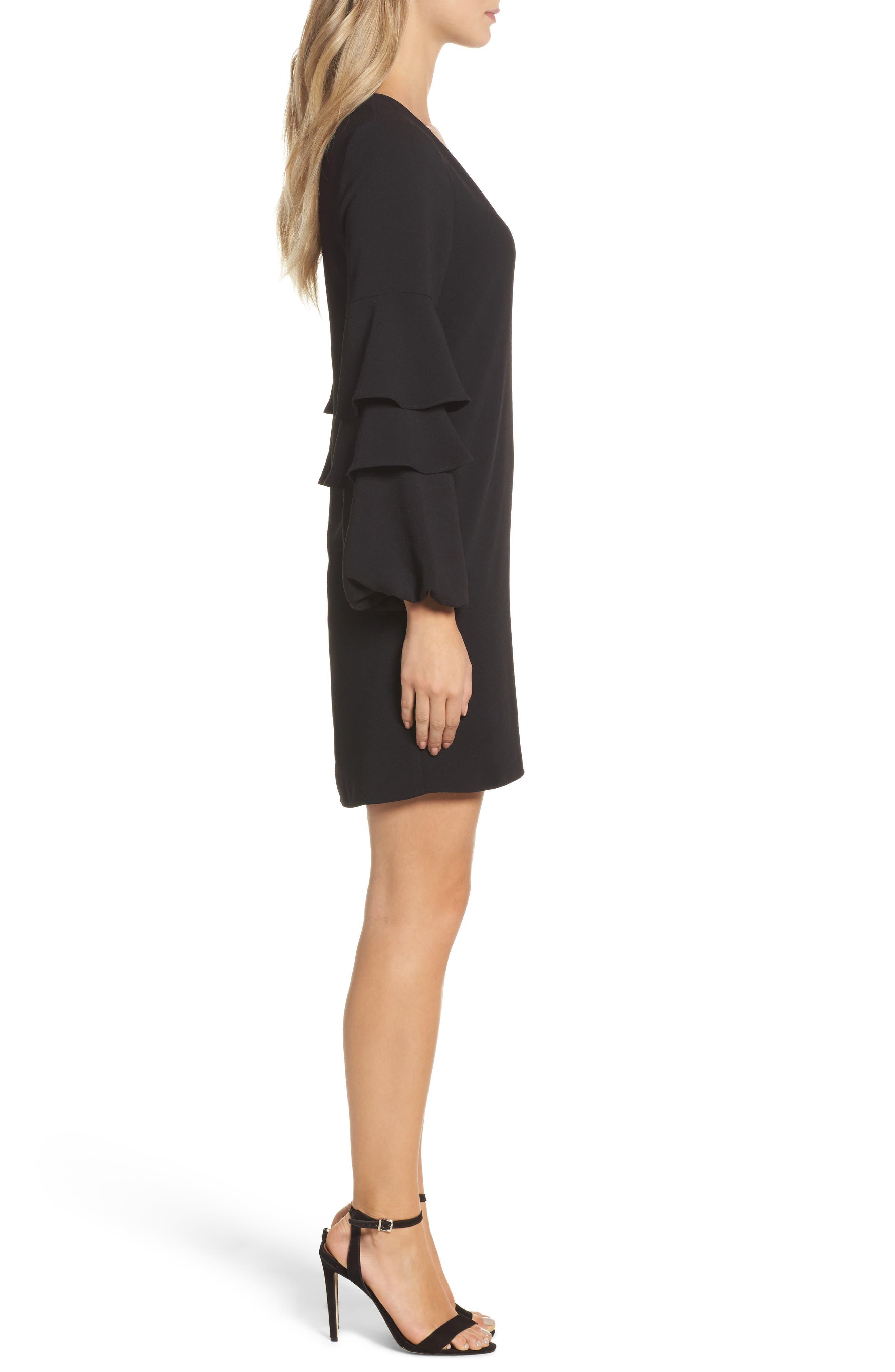 Tiered Ruffle Sleeve Dress,                             Alternate thumbnail 3, color,                             BLACK