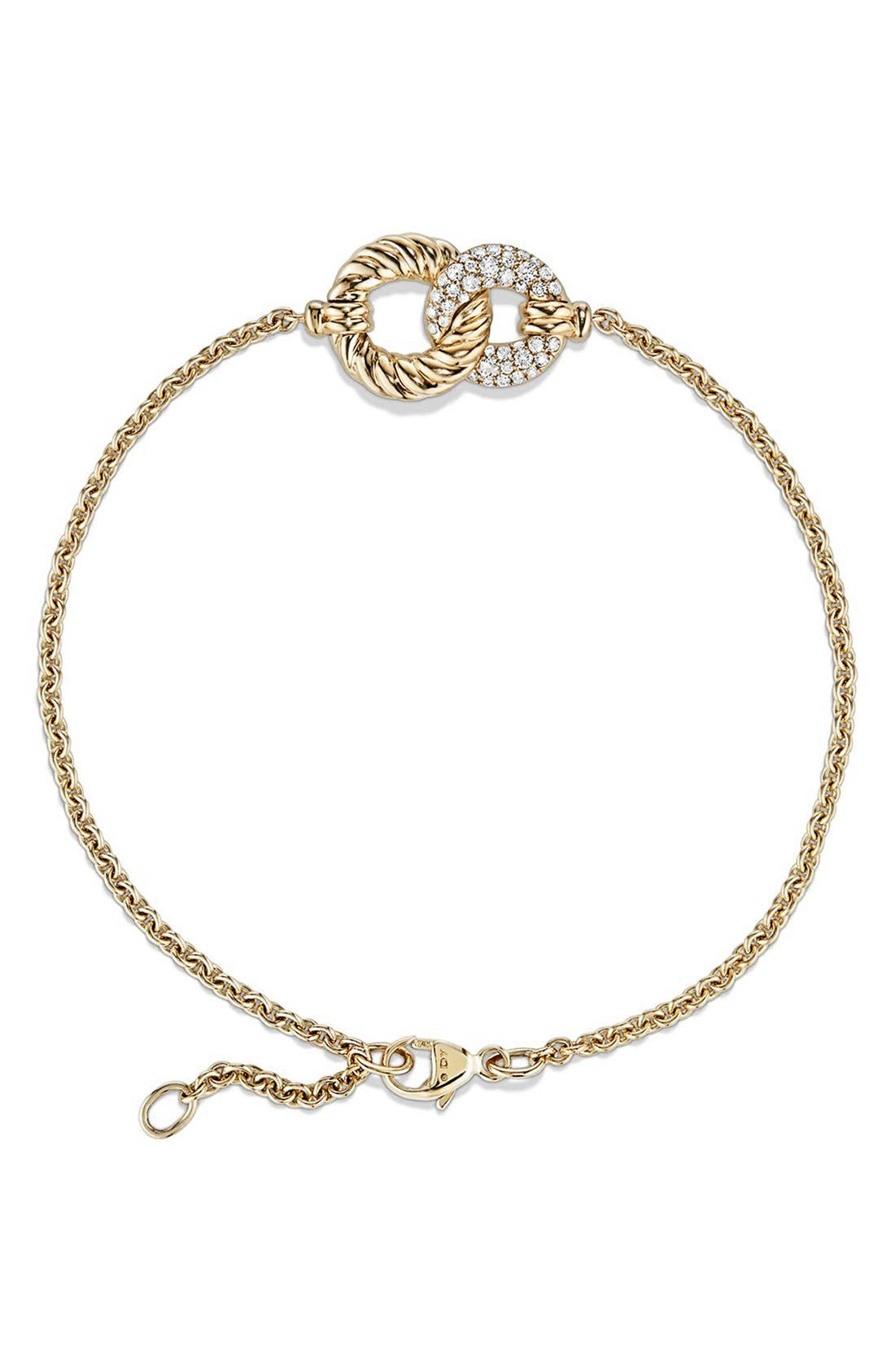 Belmont Single Station Bracelet,                             Alternate thumbnail 3, color,                             YELLOW GOLD/ DIAMOND