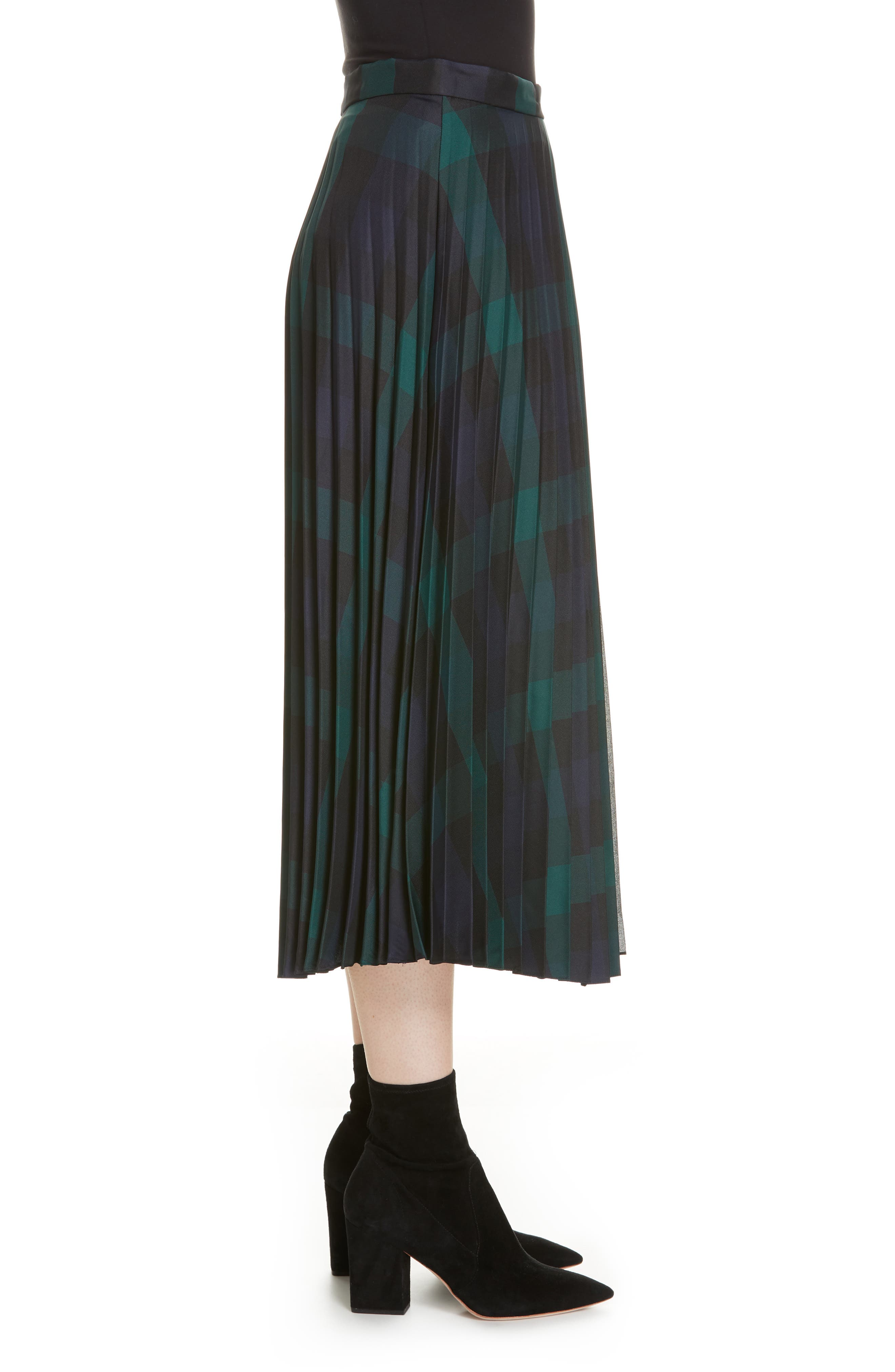 Plaid Pleated Midi Skirt,                             Alternate thumbnail 3, color,                             DEEP NAVY